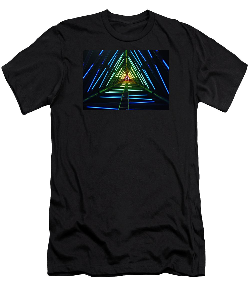 Lights Men's T-Shirt (Athletic Fit) featuring the photograph Neon Lights by Bruce Roker