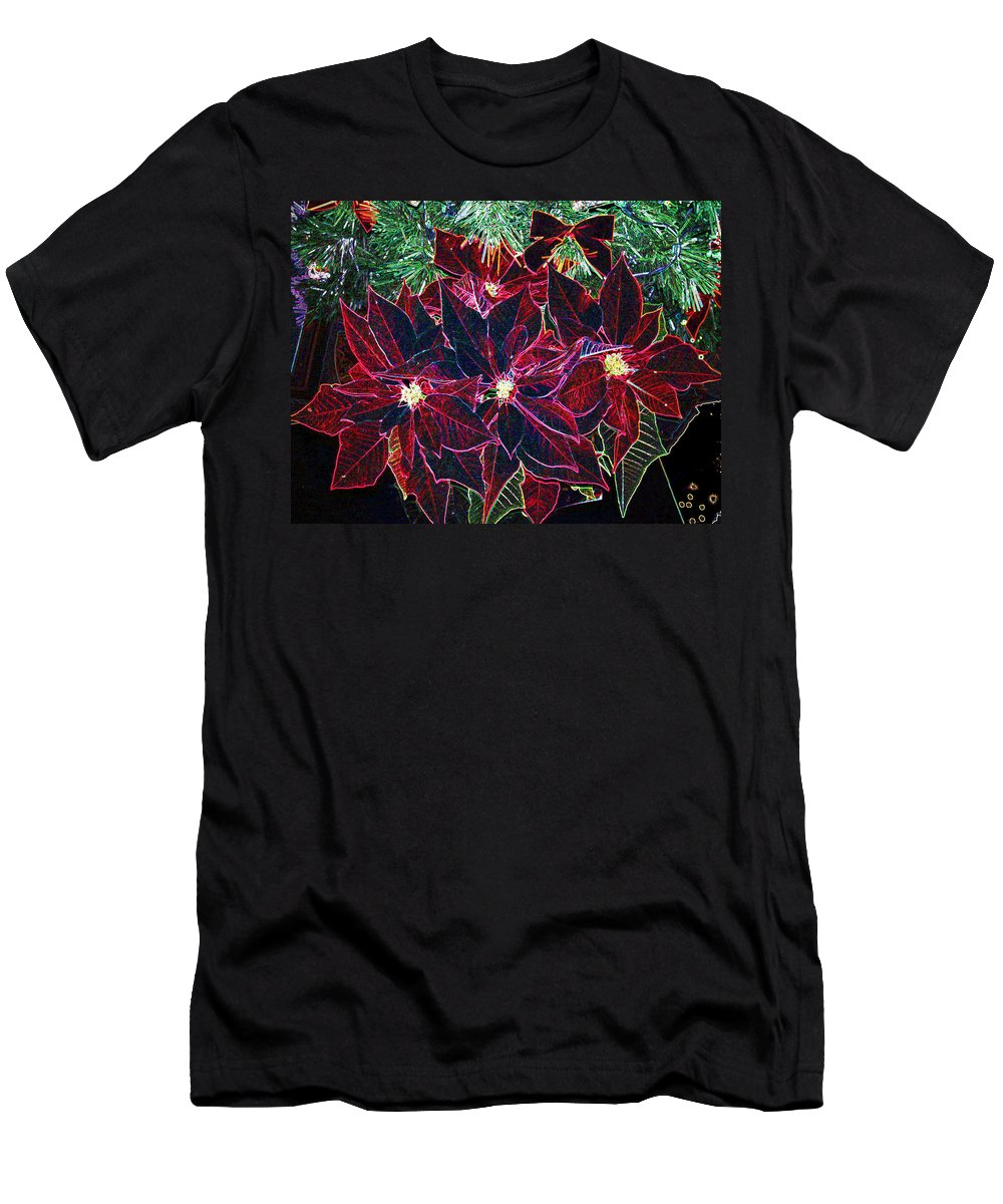 Flowers Men's T-Shirt (Athletic Fit) featuring the photograph Neon Poinsettias by Nancy Mueller