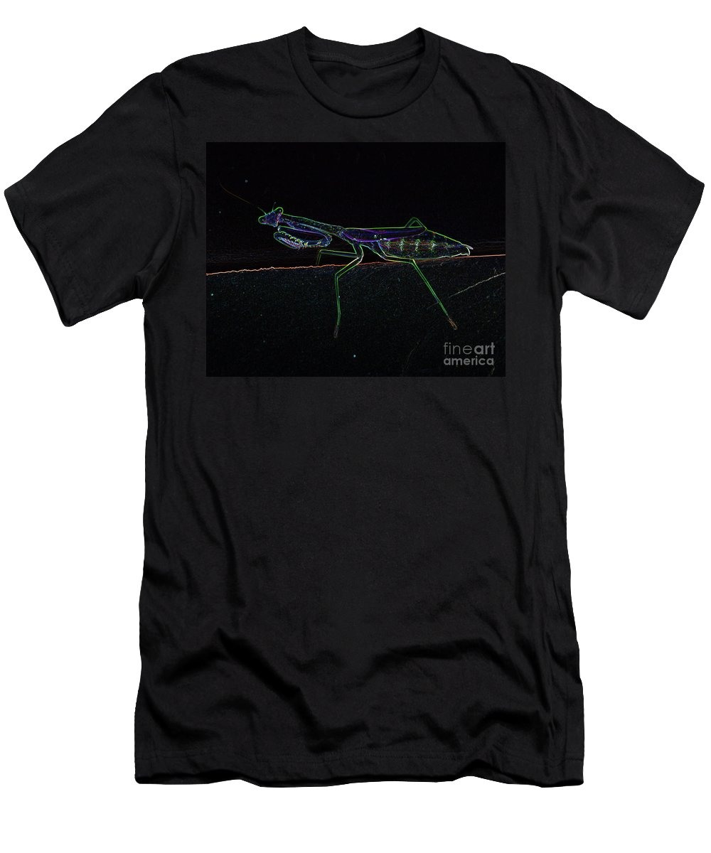 Praying Mantis Men's T-Shirt (Athletic Fit) featuring the photograph Neon Praying Mantis by Maggie Cersosimo
