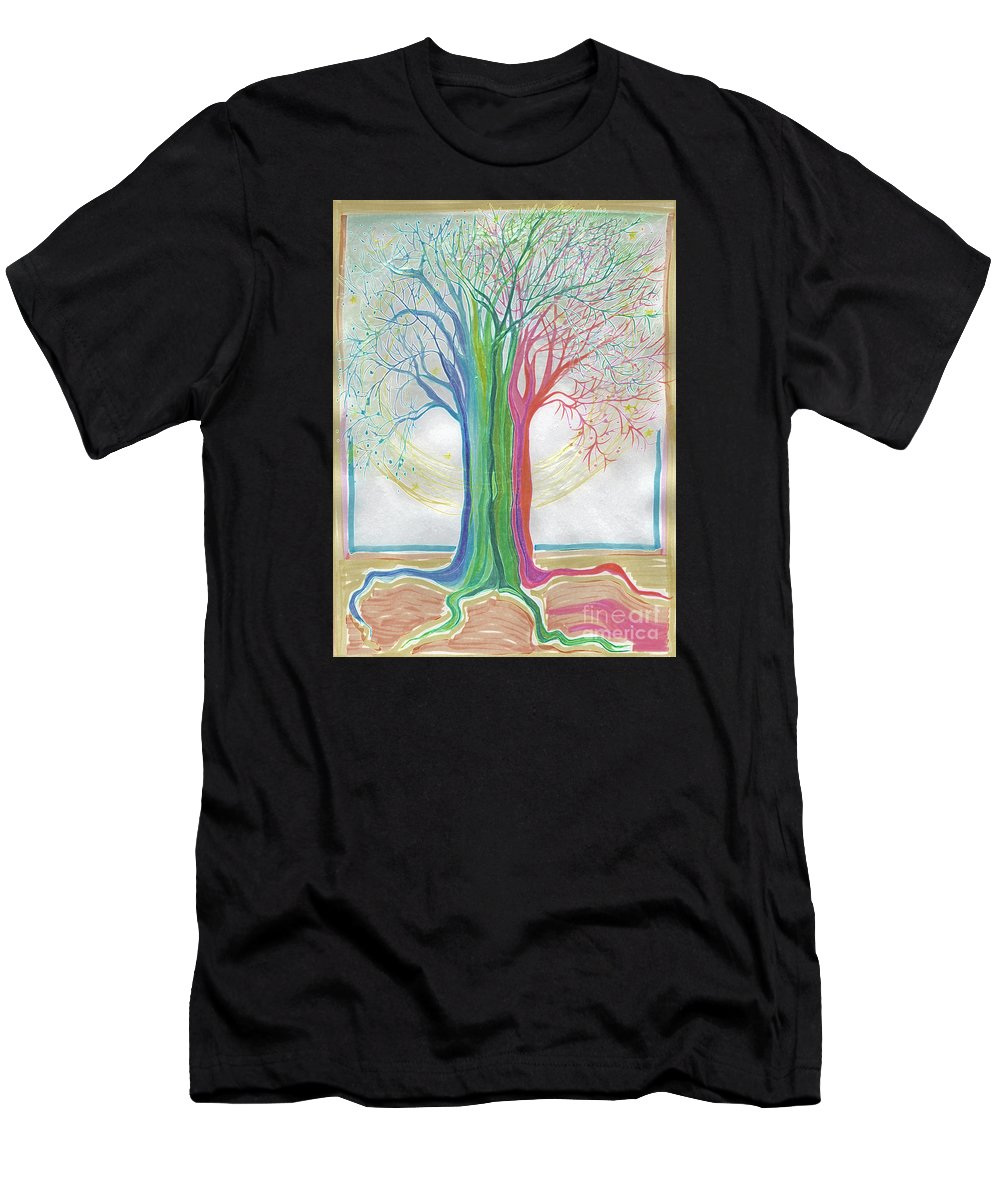 Four Seasons Men's T-Shirt (Athletic Fit) featuring the drawing Neon Rainbow Tree By Jrr by First Star Art