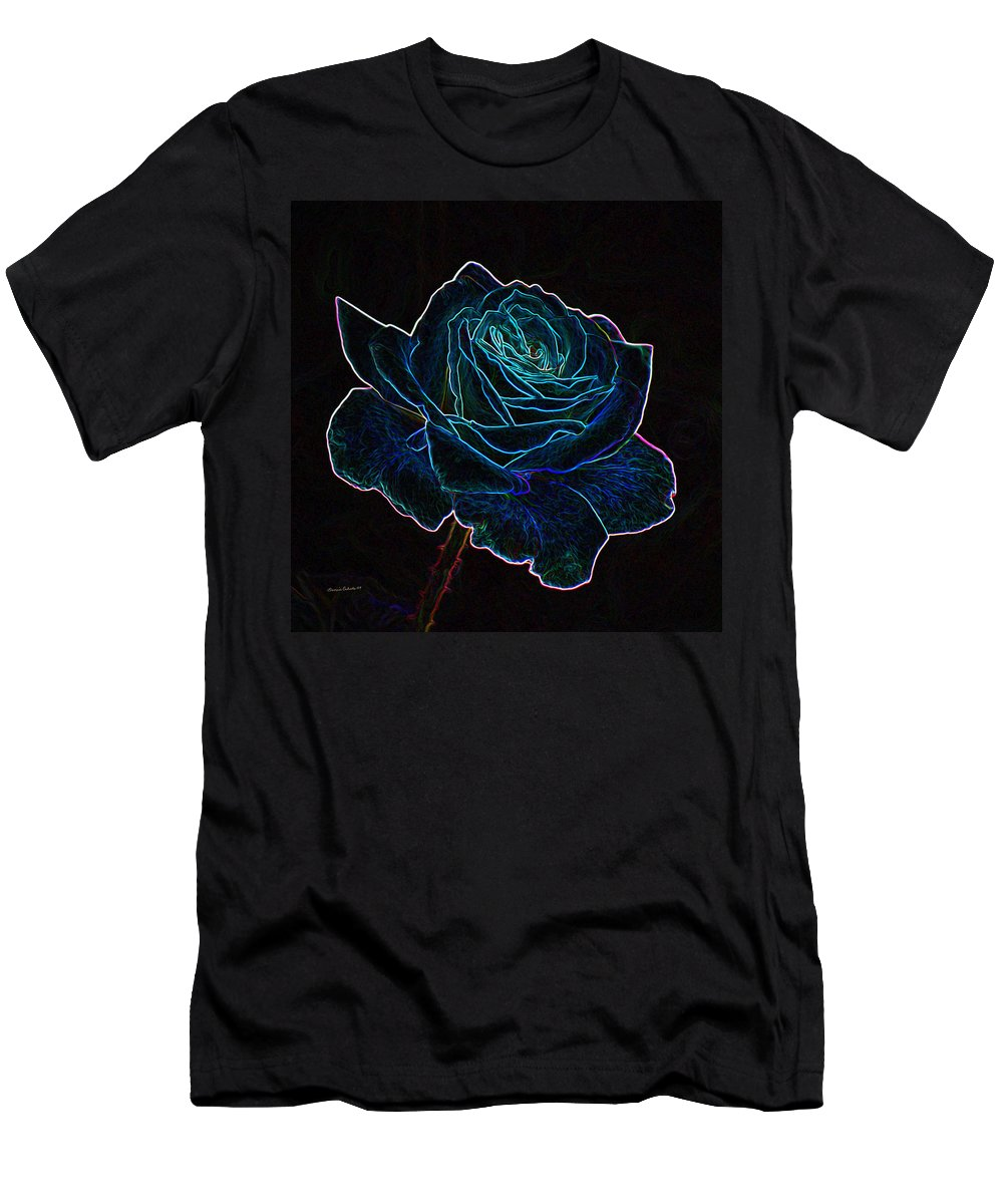 Flowers Men's T-Shirt (Athletic Fit) featuring the mixed media Neon Rose 3 by Ernie Echols