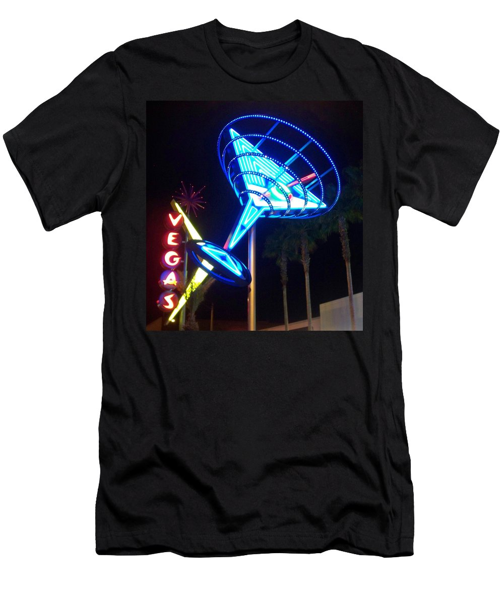 Vegas Men's T-Shirt (Athletic Fit) featuring the photograph Neon Signs 1 by Anita Burgermeister