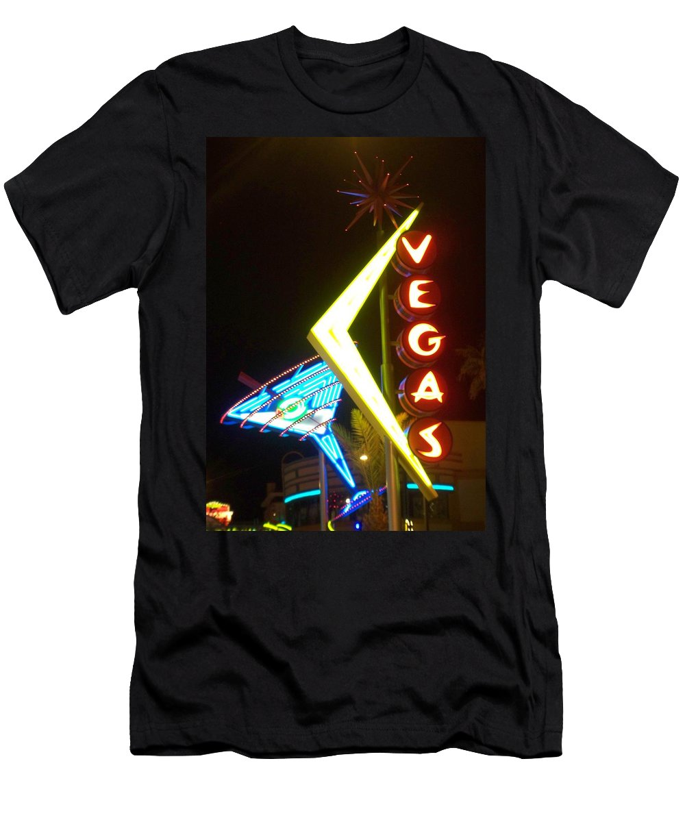 Fremont East Men's T-Shirt (Athletic Fit) featuring the photograph Neon Signs 3 by Anita Burgermeister