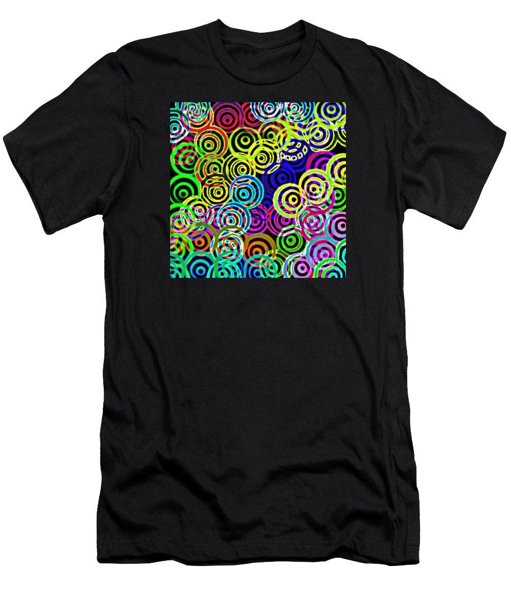 Unique Men's T-Shirt (Athletic Fit) featuring the digital art Neon Swirls by Susan Stevenson