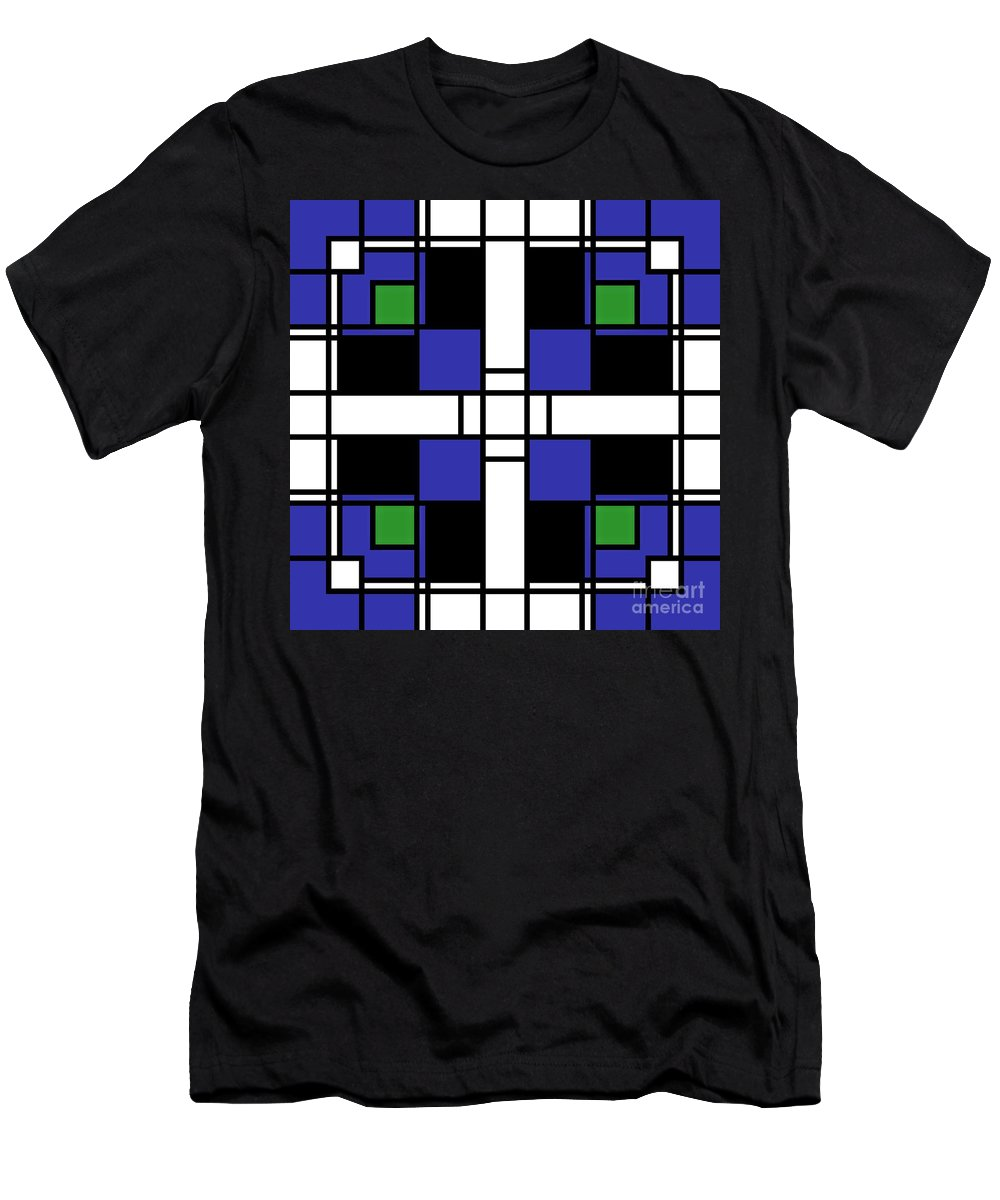 Abstract Men's T-Shirt (Athletic Fit) featuring the digital art Neoplasticism Symmetrical Pattern In Sapphire Blue by Heidi De Leeuw