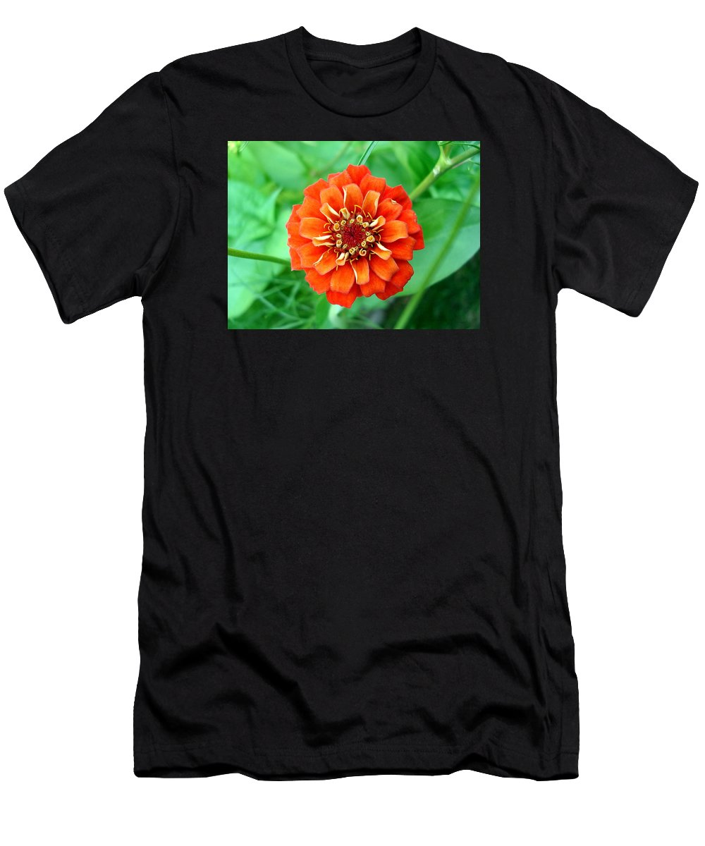 Dahlia Flowers Men's T-Shirt (Athletic Fit) featuring the photograph Nepal Orange 2 by Nelson F Martinez