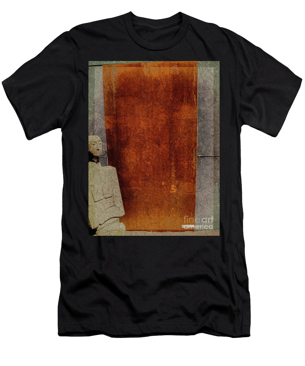 Nature Men's T-Shirt (Athletic Fit) featuring the digital art Nero Rustic Sculpture Wall by Mona Stut