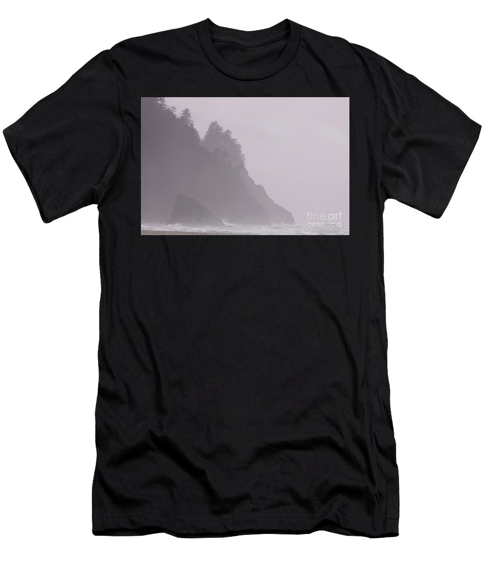 Images Men's T-Shirt (Athletic Fit) featuring the photograph Neskowin Beach Rosy Sea Fog by Rick Bures