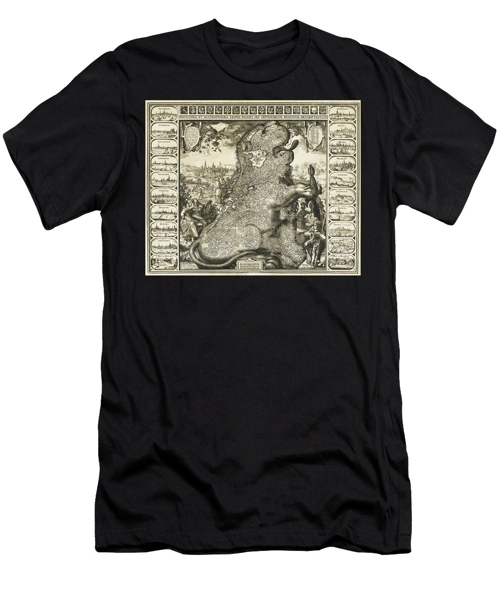 Leo Belgicus Men's T-Shirt (Athletic Fit) featuring the painting Netherland by MotionAge Designs