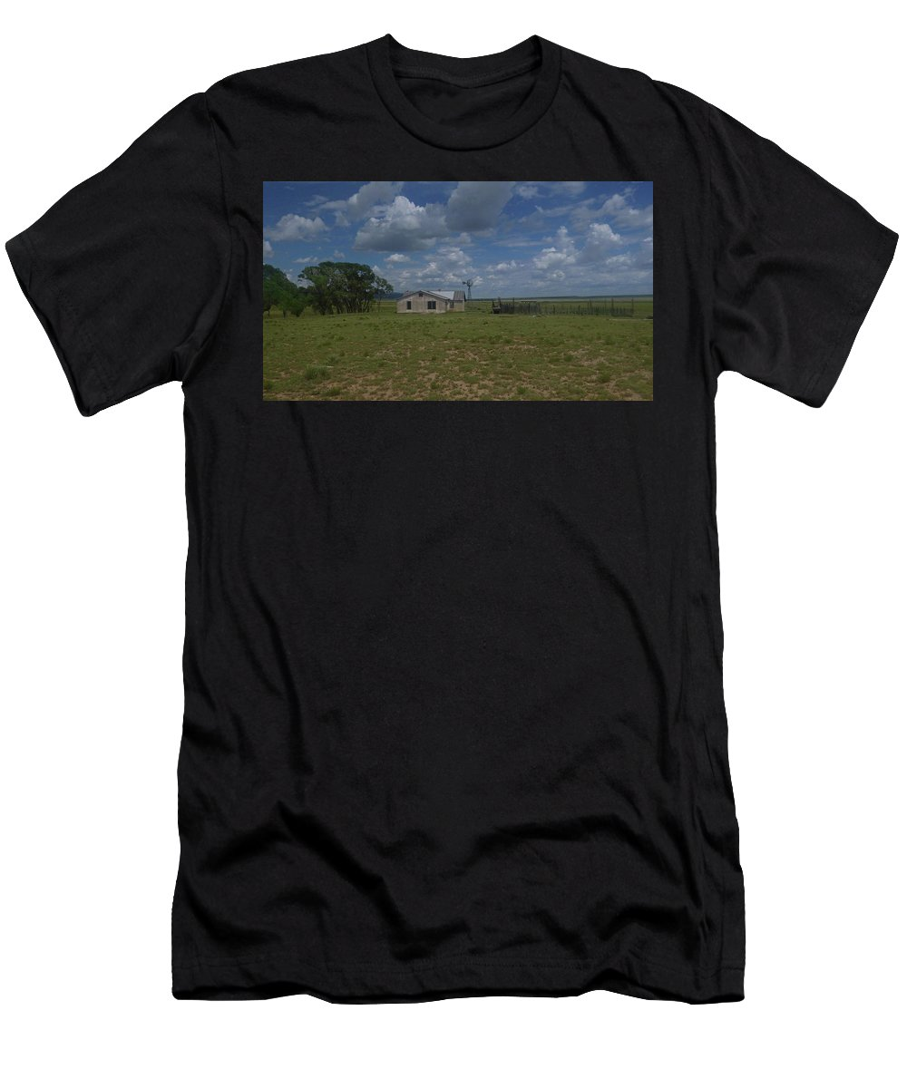 New Mexico Men's T-Shirt (Athletic Fit) featuring the photograph New Mexico Wind Mill by Dan Dixon