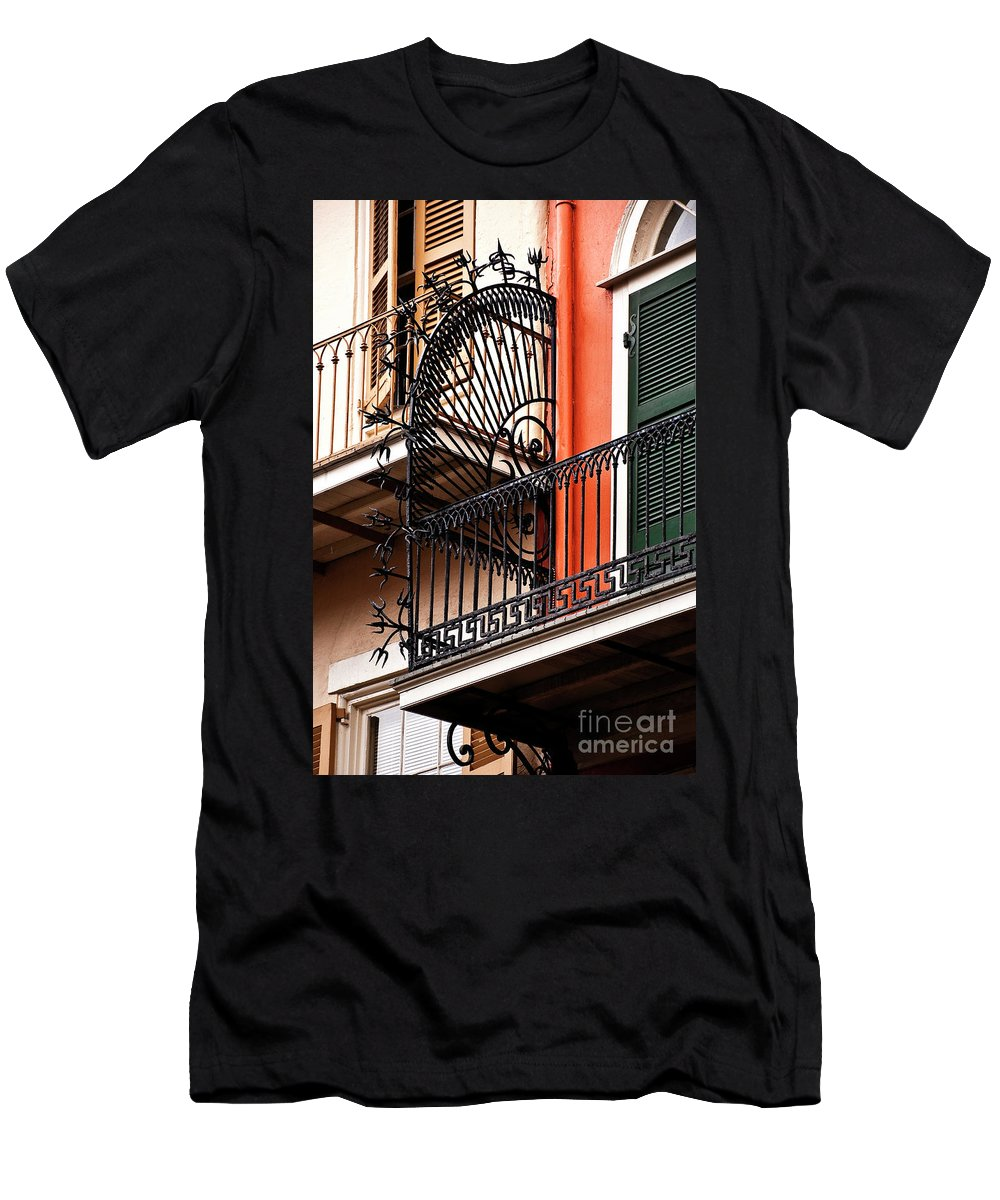 Balcony Men's T-Shirt (Athletic Fit) featuring the photograph New Orleans Balcony by Kathleen K Parker