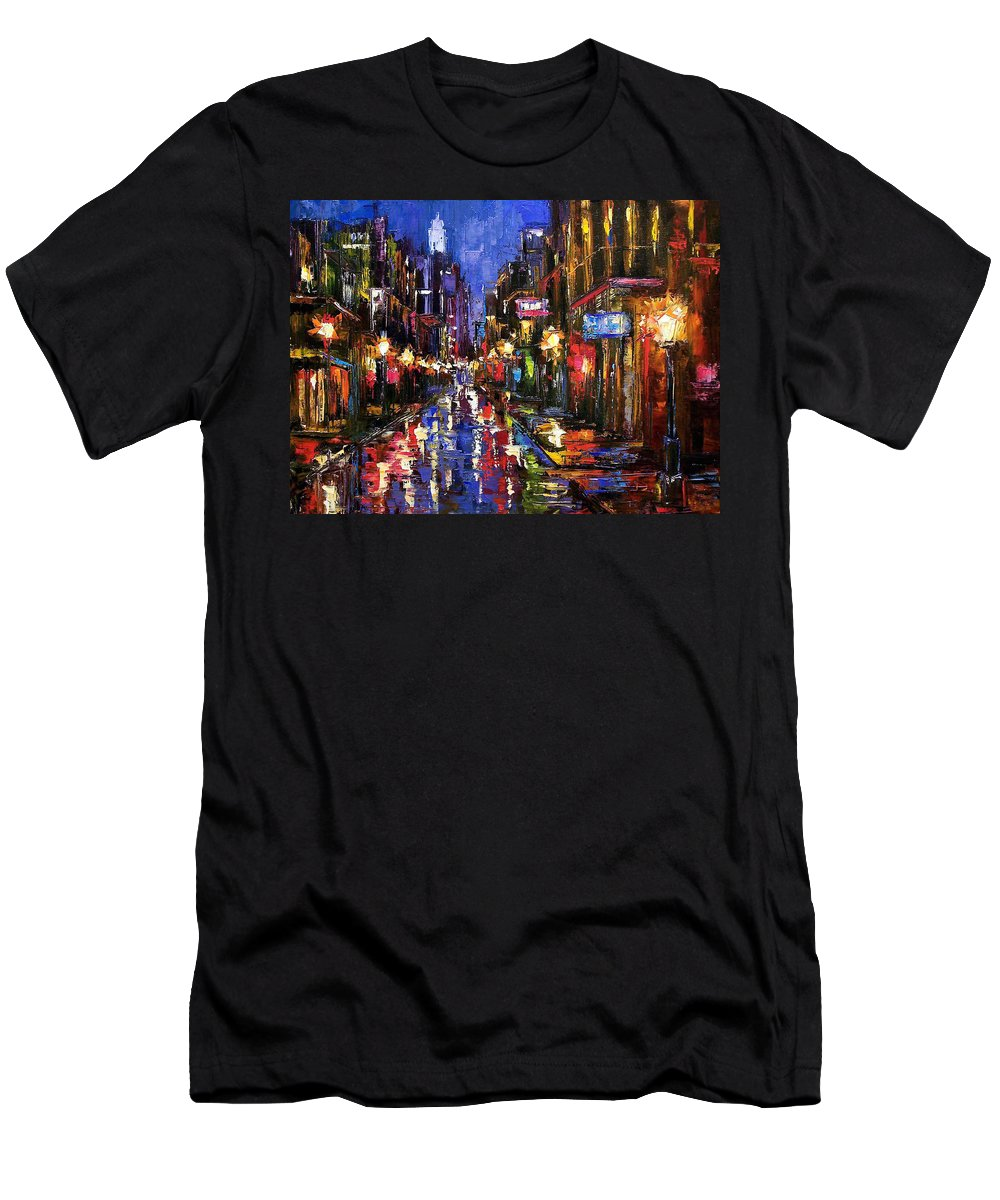 Cityscape Men's T-Shirt (Athletic Fit) featuring the painting New Orleans Storm by Debra Hurd