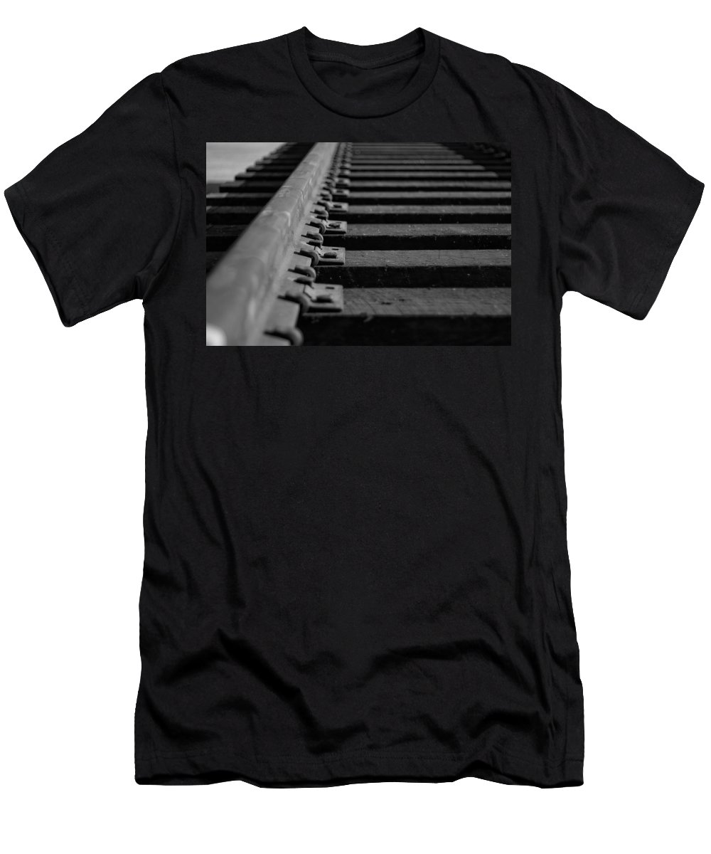 Black And White Photograph Men's T-Shirt (Athletic Fit) featuring the photograph New Tracks by Mike Oistad