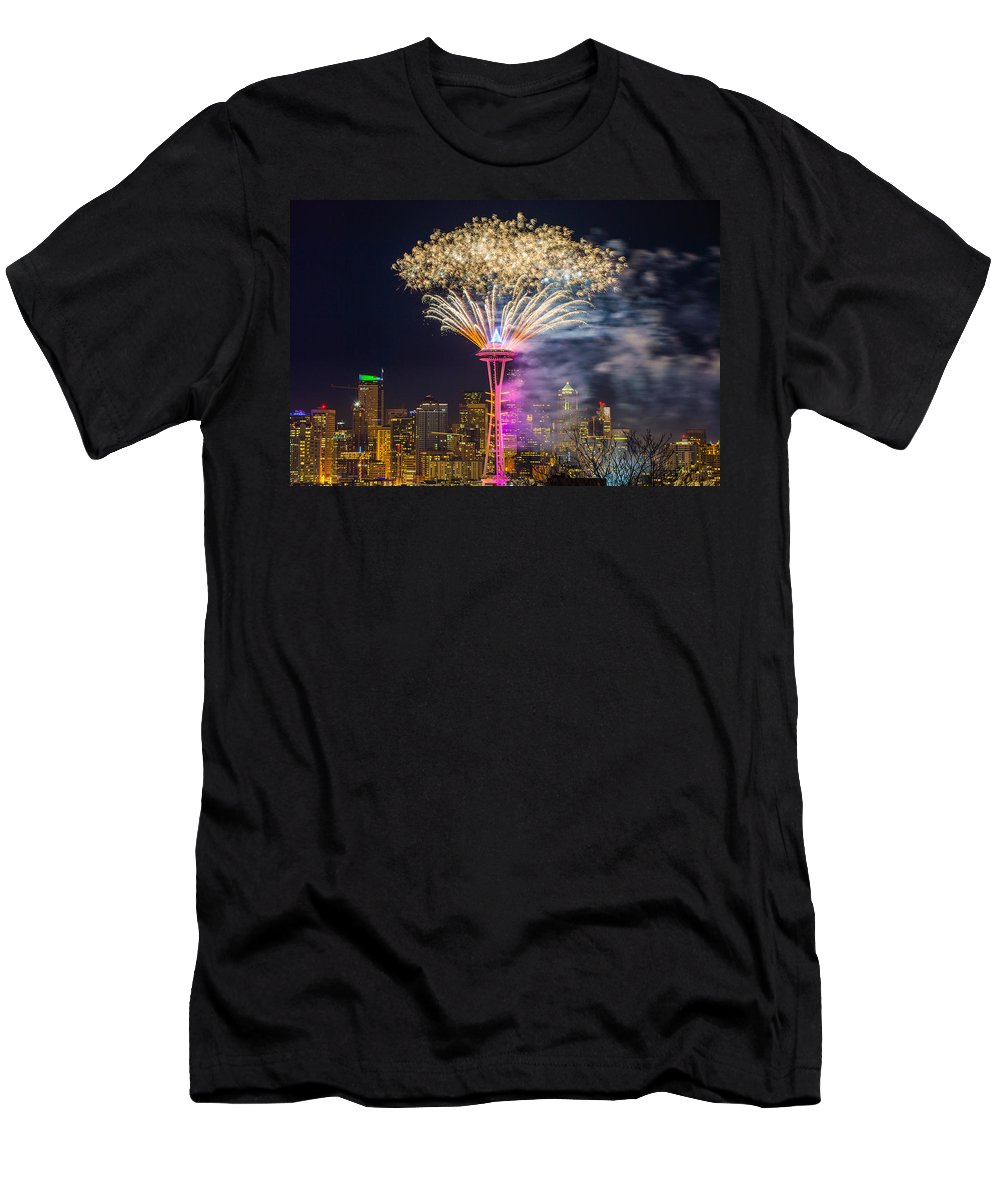Fireworks Men's T-Shirt (Athletic Fit) featuring the photograph New Year Fireworks - Seattle by Hisao Mogi