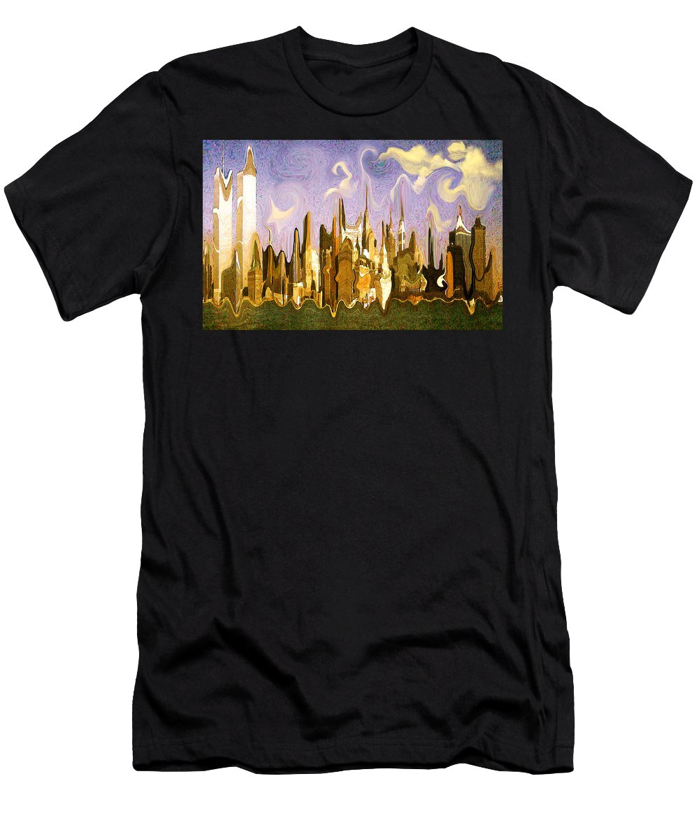 New+york+city Men's T-Shirt (Athletic Fit) featuring the painting New York City 2200 - Modern Art by Peter Potter