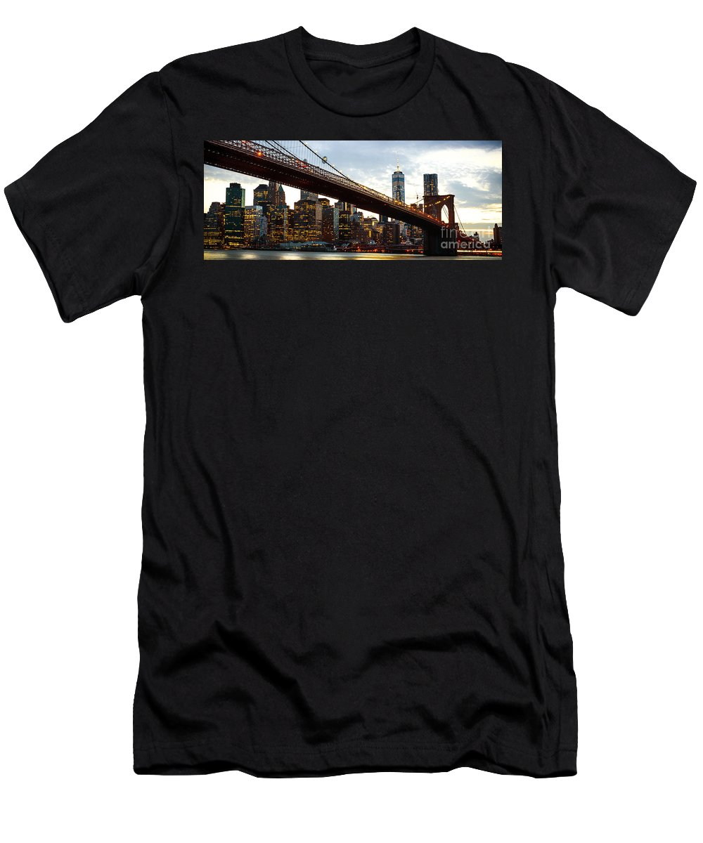 America Men's T-Shirt (Athletic Fit) featuring the photograph New York City Skyline by Antonio Gravante