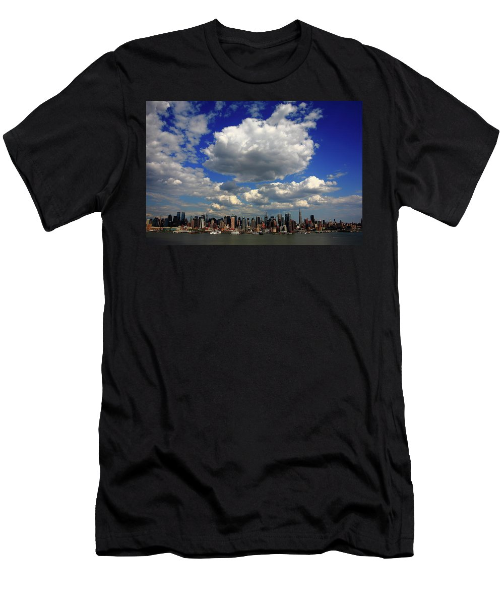 America Men's T-Shirt (Athletic Fit) featuring the photograph New York City Skyline by Frank Romeo