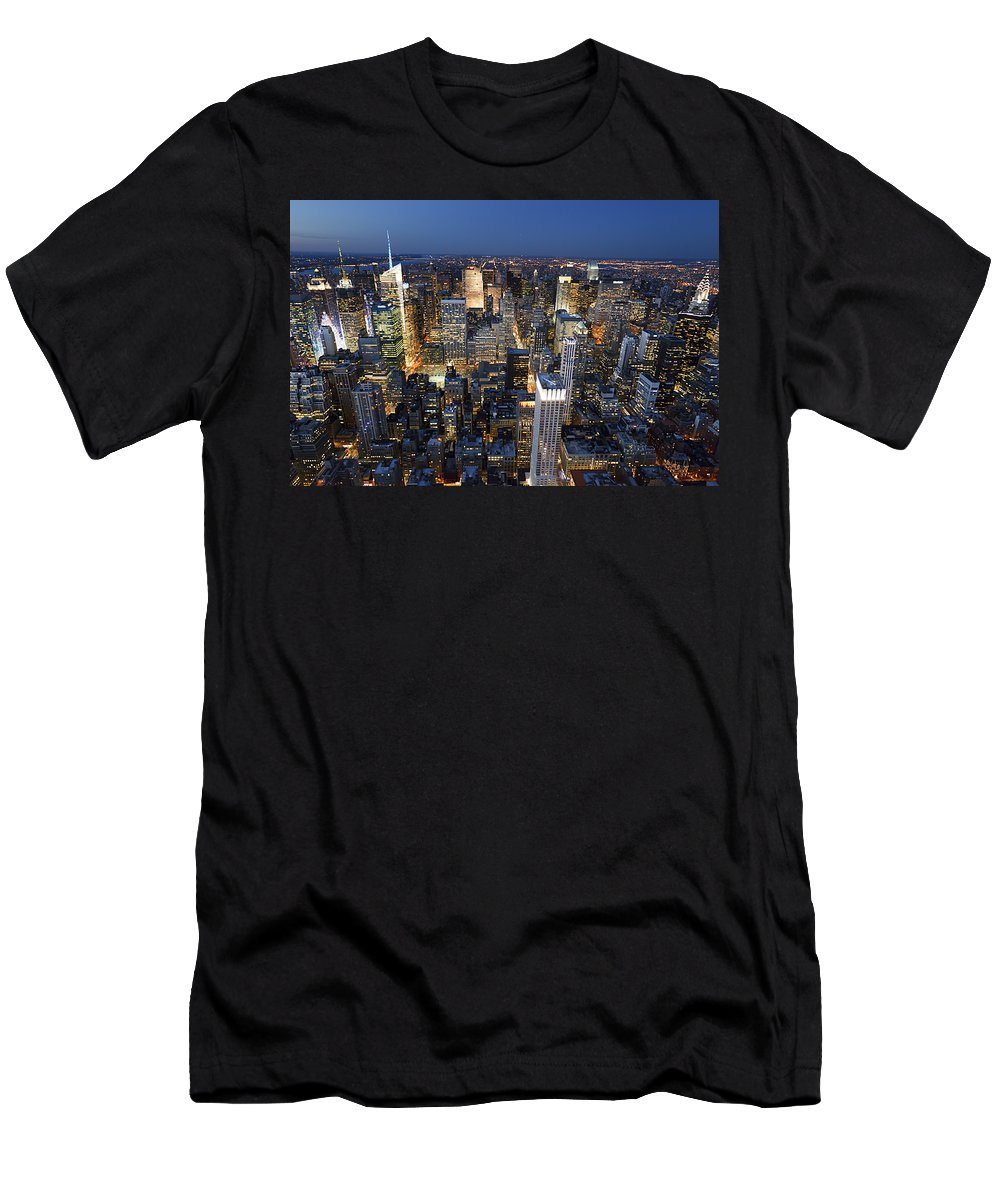 America Men's T-Shirt (Athletic Fit) featuring the photograph New York Lights by MakenaStockMedia