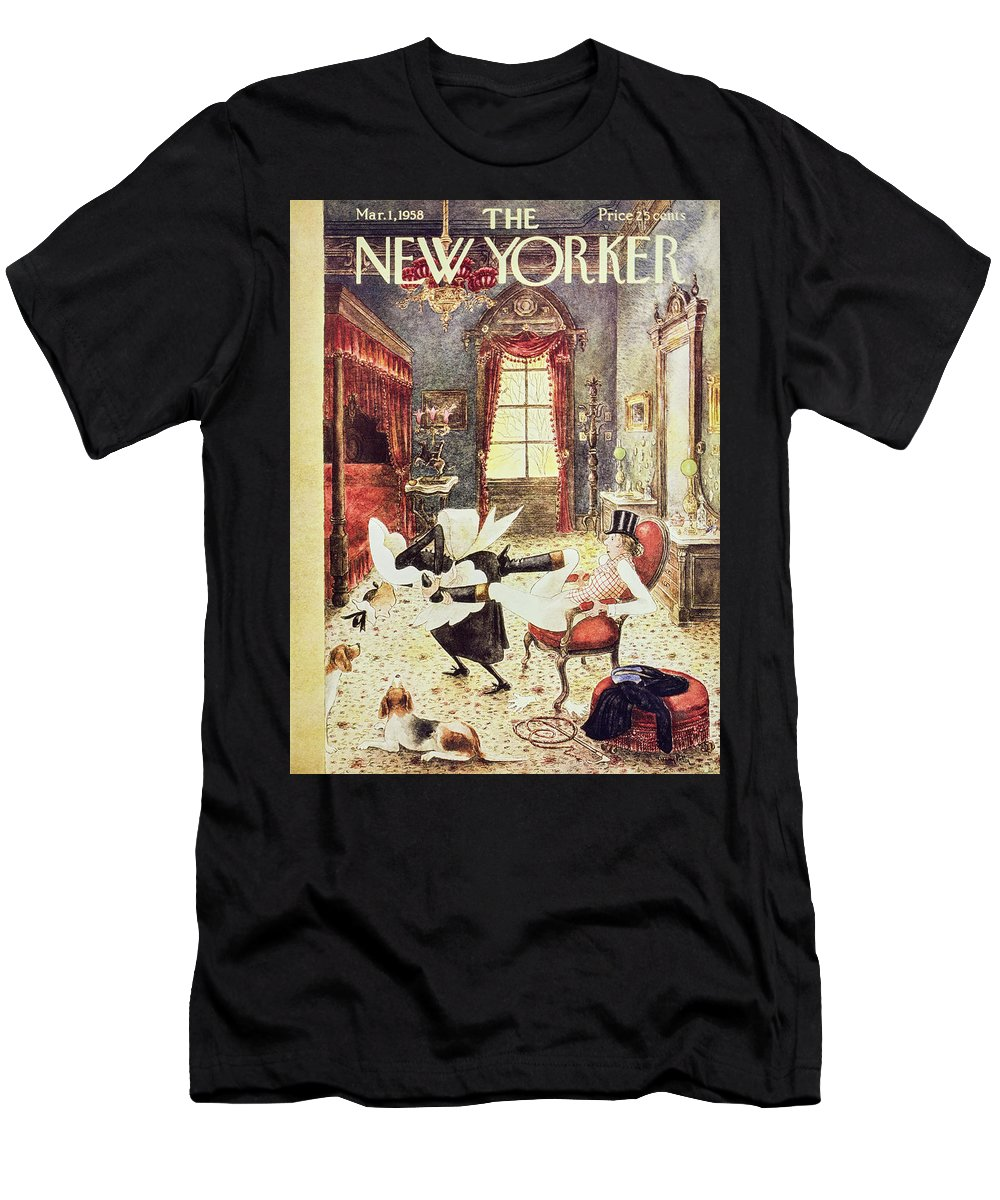Maid Men's T-Shirt (Athletic Fit) featuring the painting New Yorker March 1 1958 by Mary Petty