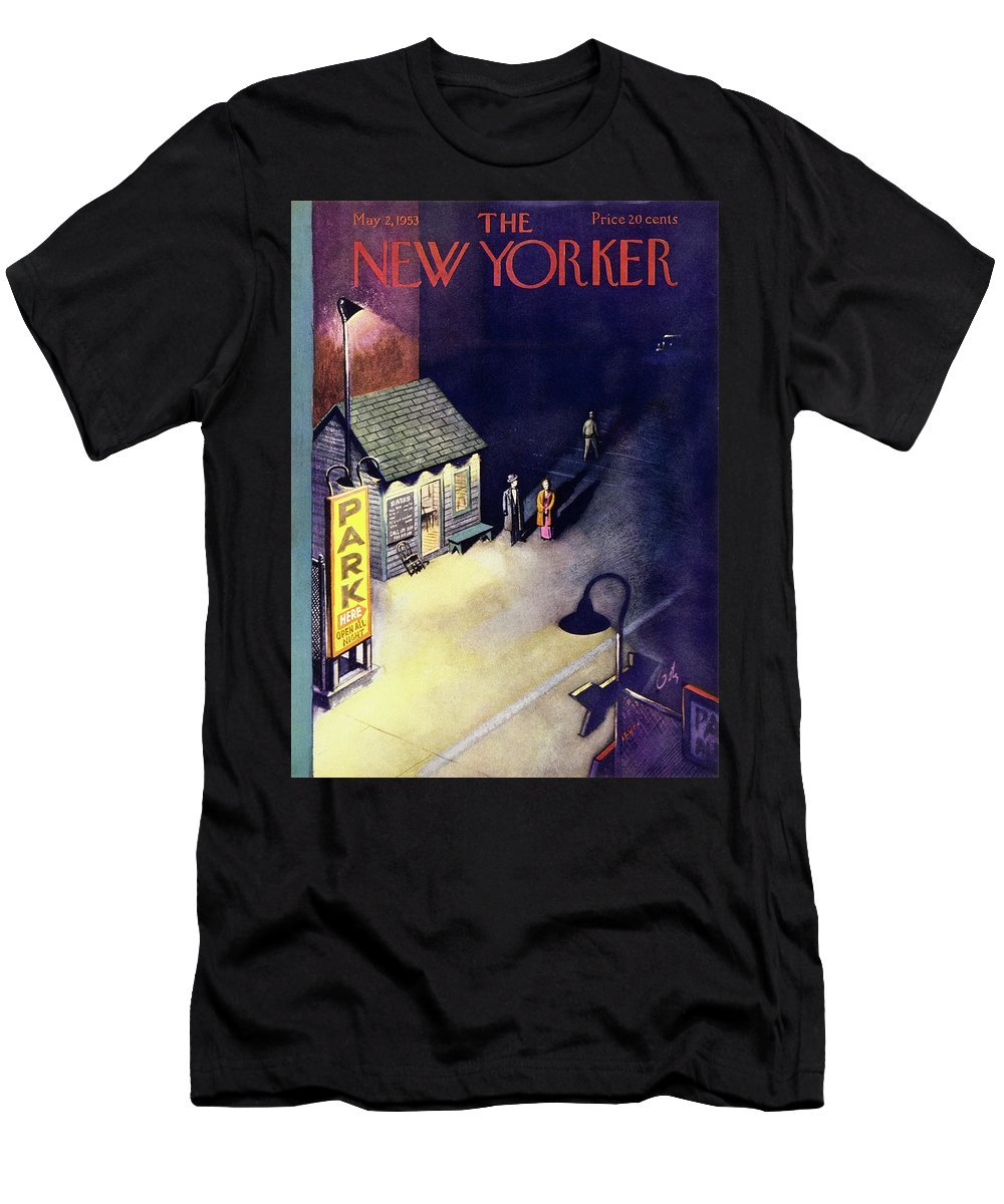 Parking Lot Men's T-Shirt (Athletic Fit) featuring the painting New Yorker May 2 1953 by Arthur Getz