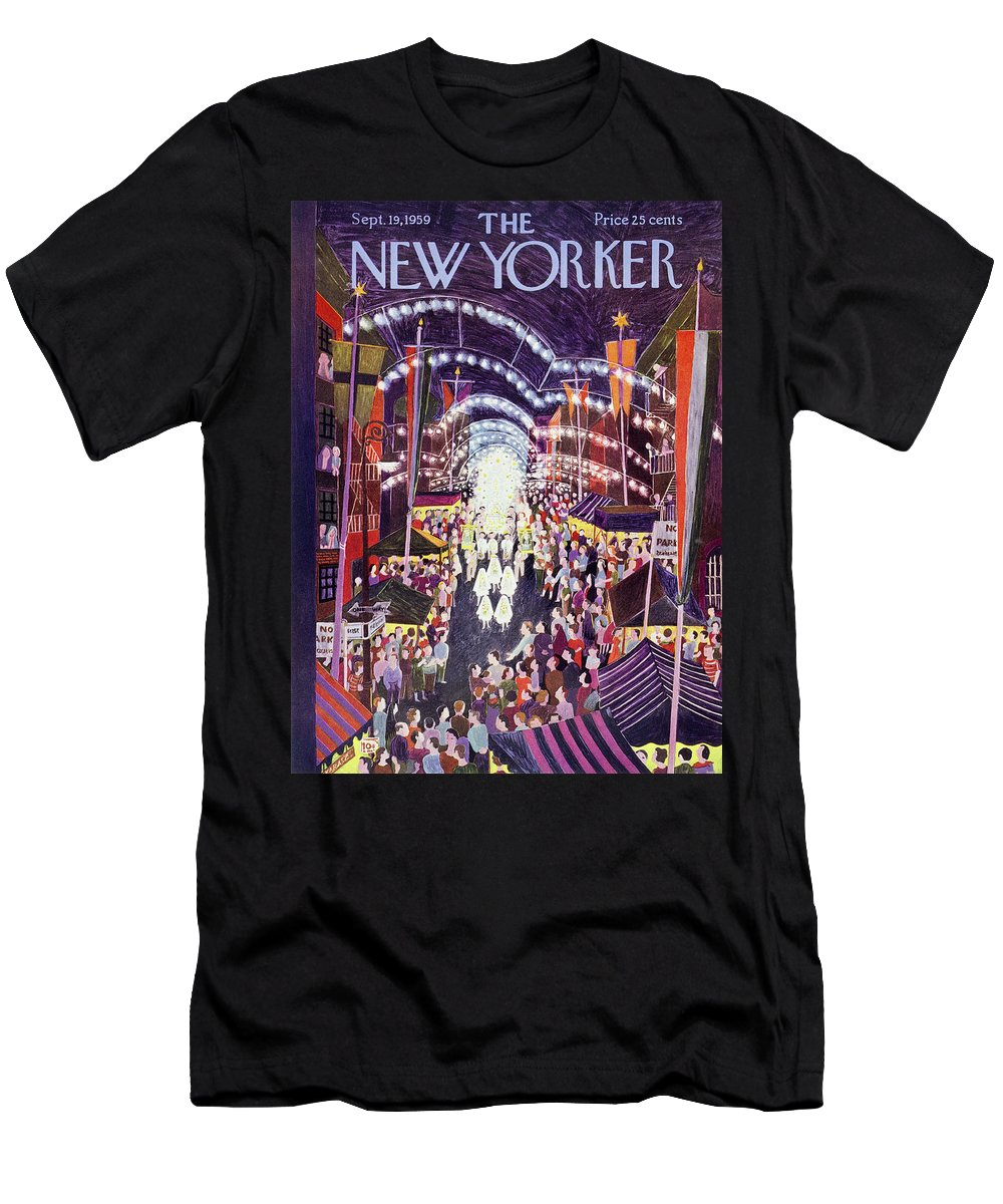 Procession Men's T-Shirt (Athletic Fit) featuring the painting New Yorker September 19 1959 by Ilonka Karasz