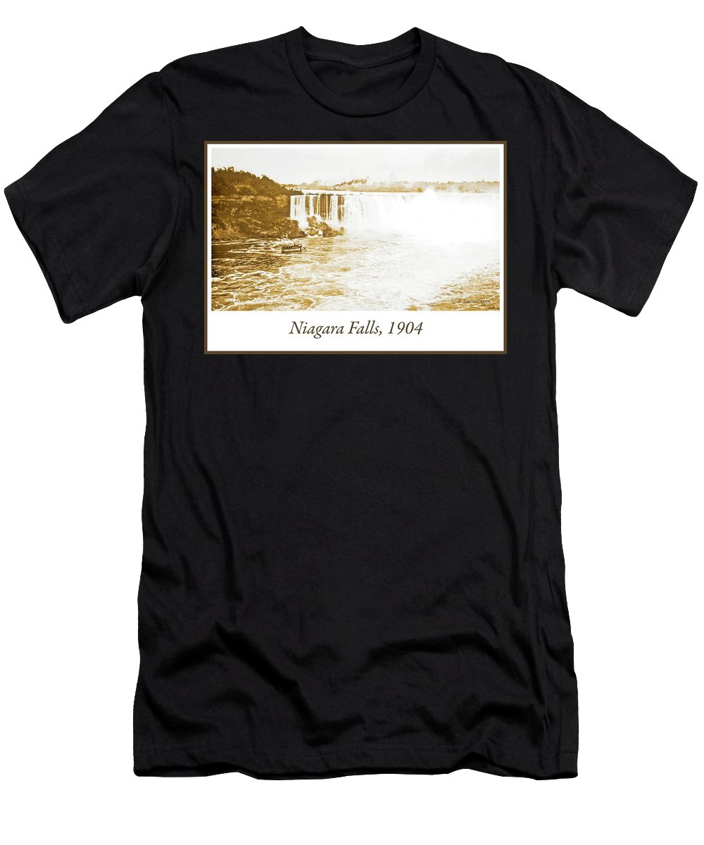 Landmark Men's T-Shirt (Athletic Fit) featuring the photograph Niagara Falls Ferry Boat, 1904, Vintage Photograph by A Gurmankin