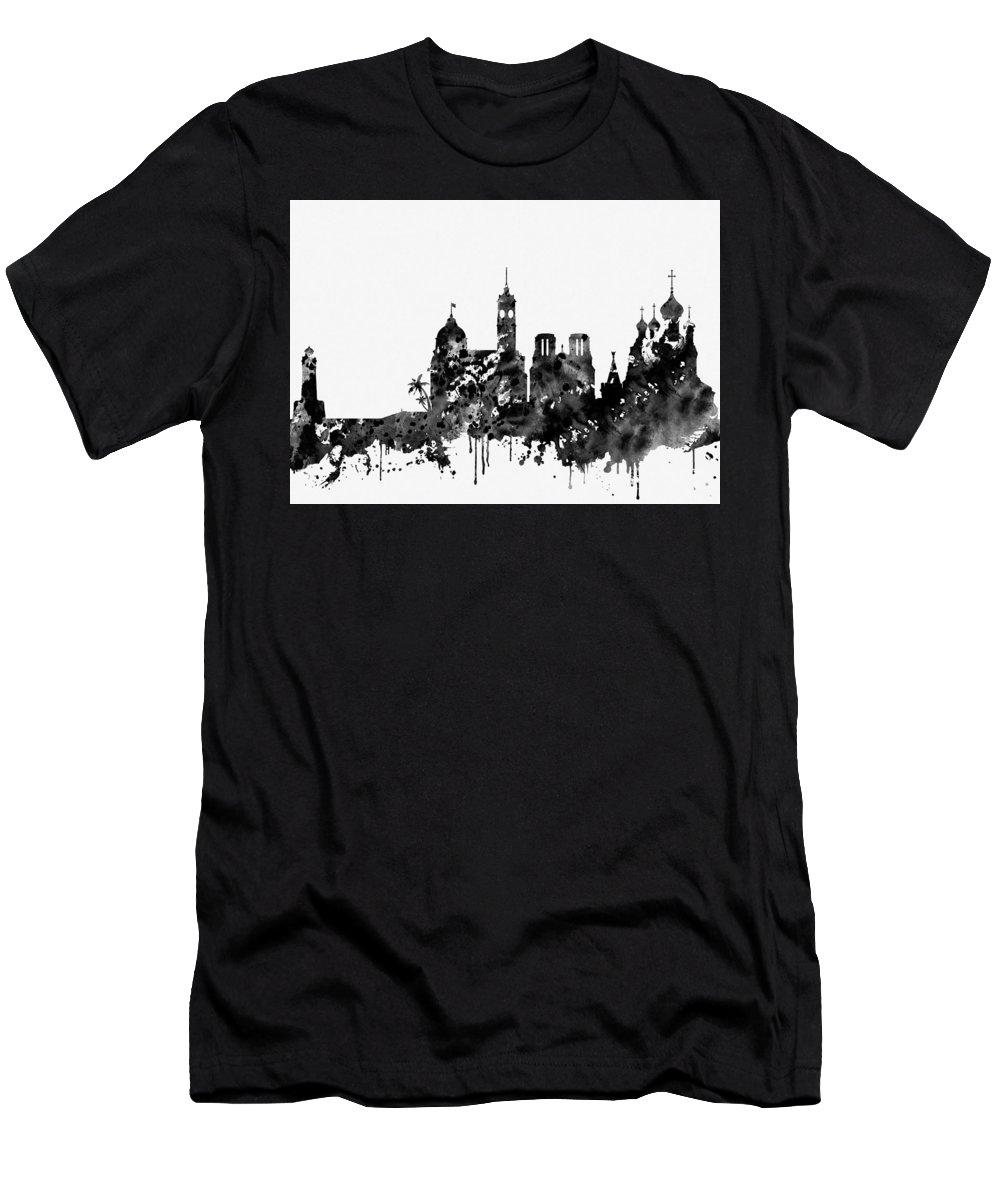 Nice Skyline Men's T-Shirt (Athletic Fit) featuring the digital art Nice Skyline-black by Erzebet S