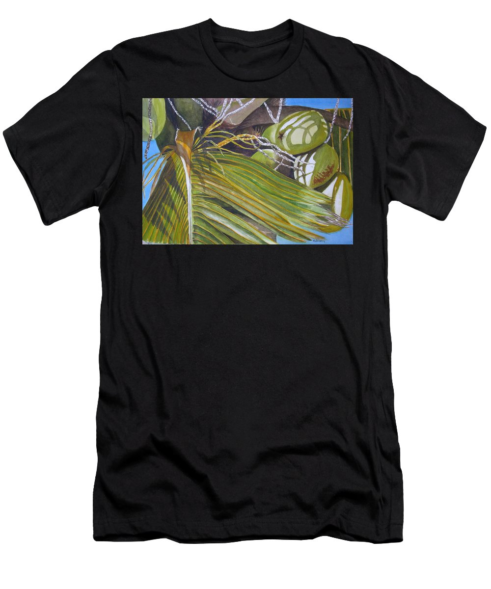 Palm Trees Men's T-Shirt (Athletic Fit) featuring the painting Nick's Coconuts by Terry Arroyo Mulrooney