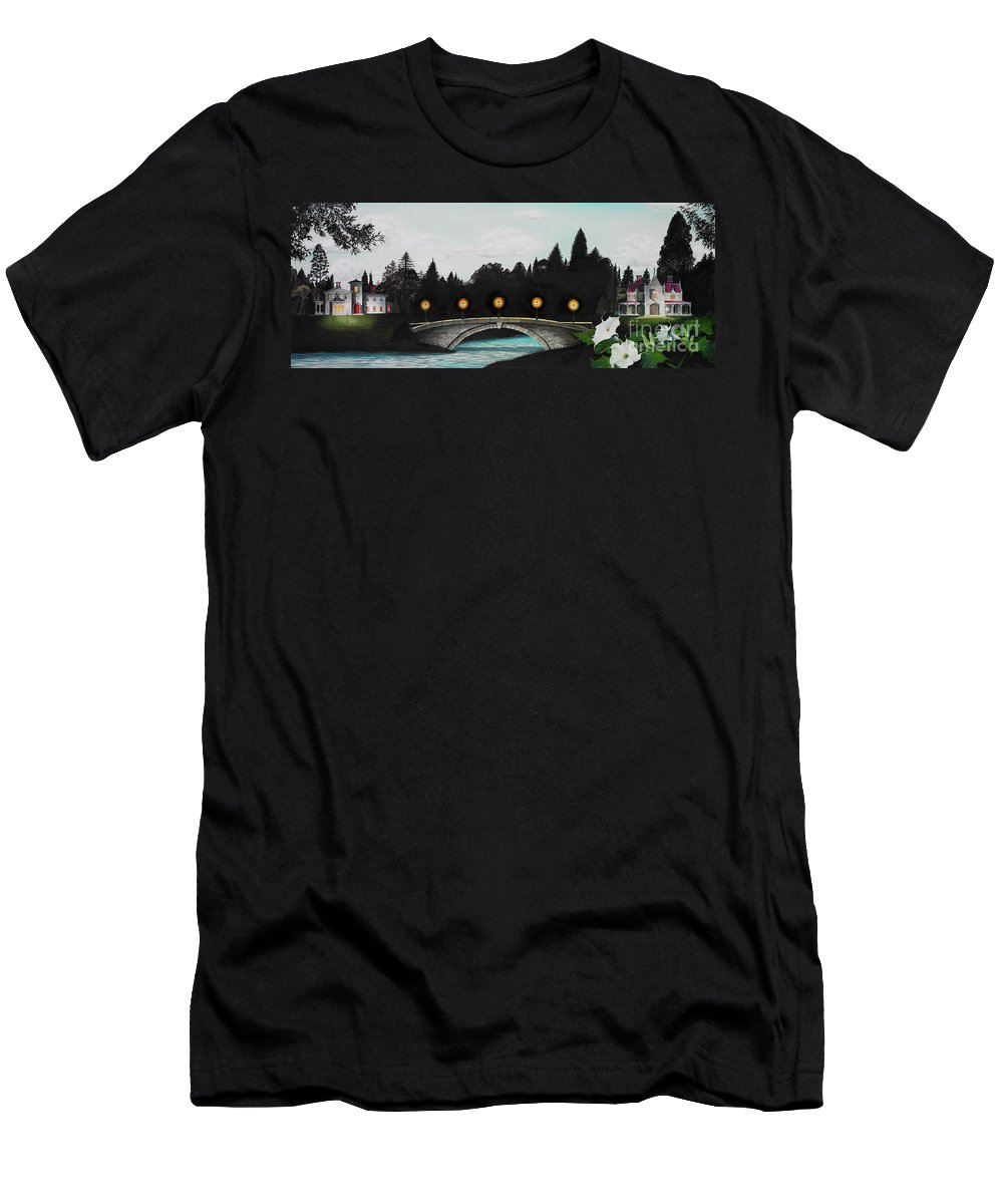 Architecture Men's T-Shirt (Athletic Fit) featuring the painting Night Bridge by Melissa A Benson
