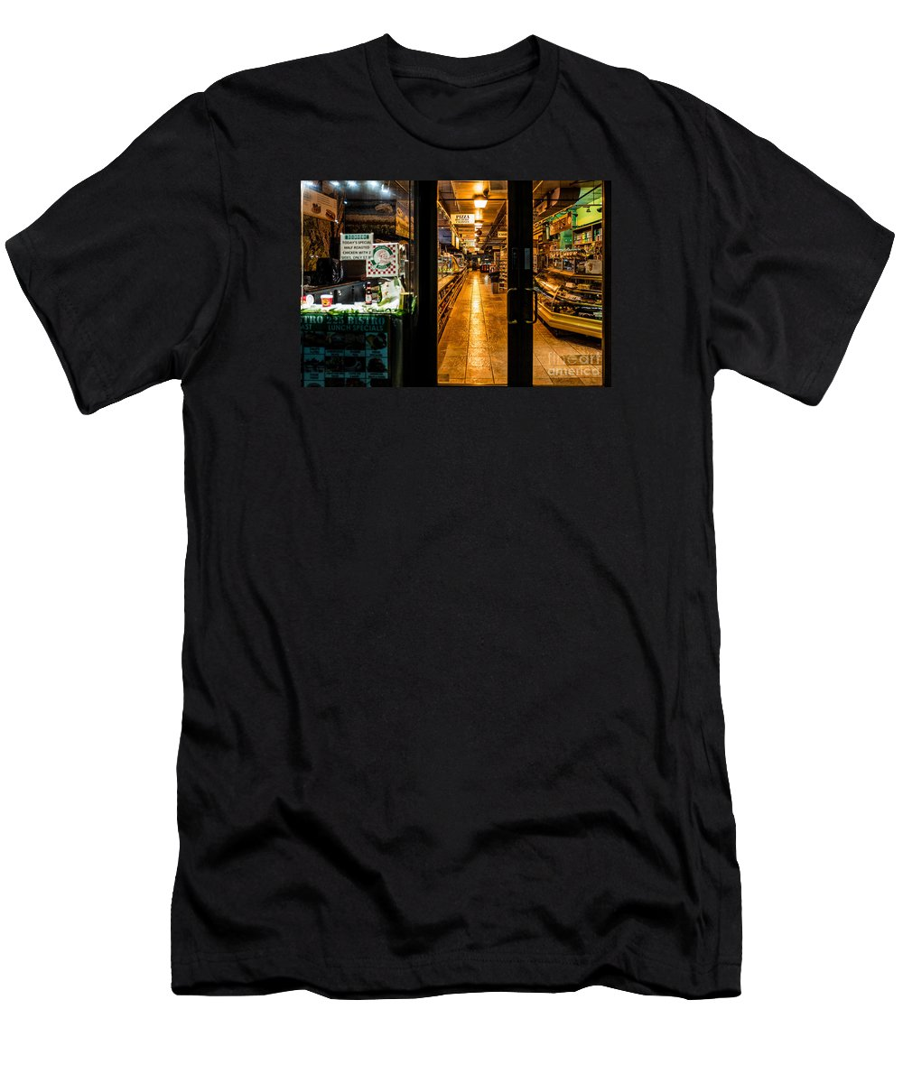 New York Men's T-Shirt (Athletic Fit) featuring the photograph Night Deli by M G Whittingham