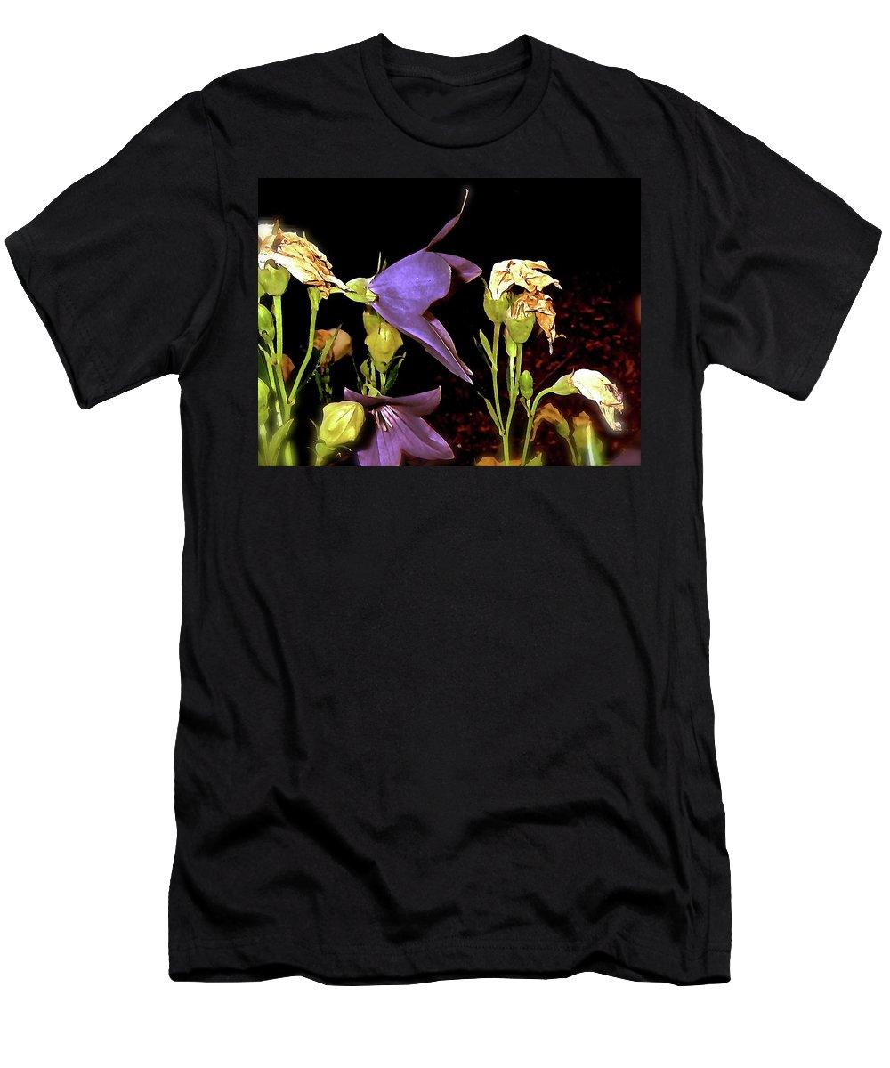 Flowers Men's T-Shirt (Athletic Fit) featuring the photograph Night Garden 14 by Elizabeth Tillar