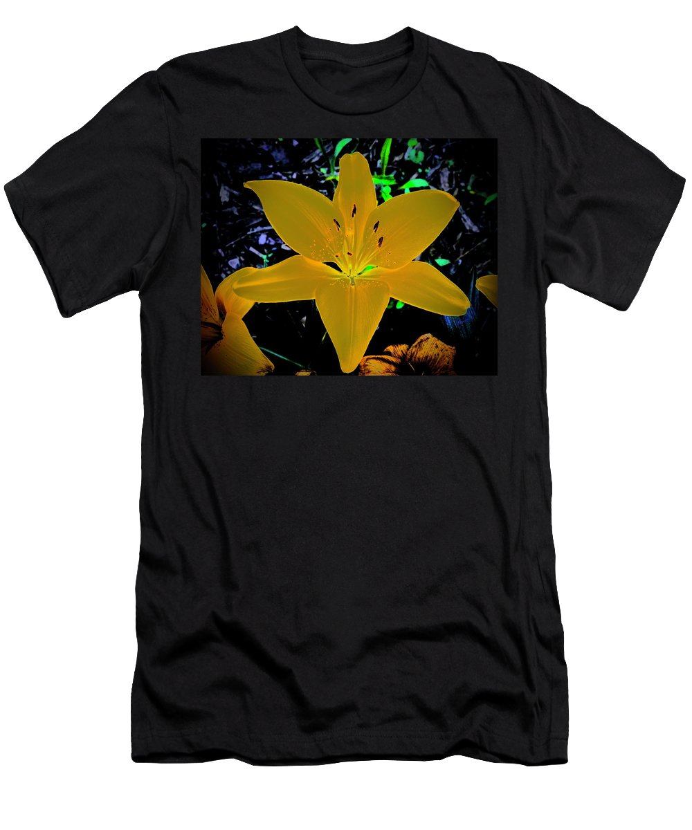 Lily Men's T-Shirt (Athletic Fit) featuring the photograph Night Glow Lily by Tim G Ross
