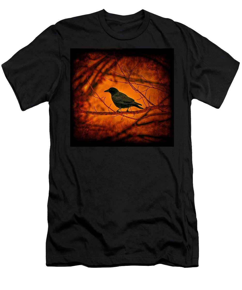 Bird Men's T-Shirt (Athletic Fit) featuring the photograph Night Guard by Evelina Kremsdorf