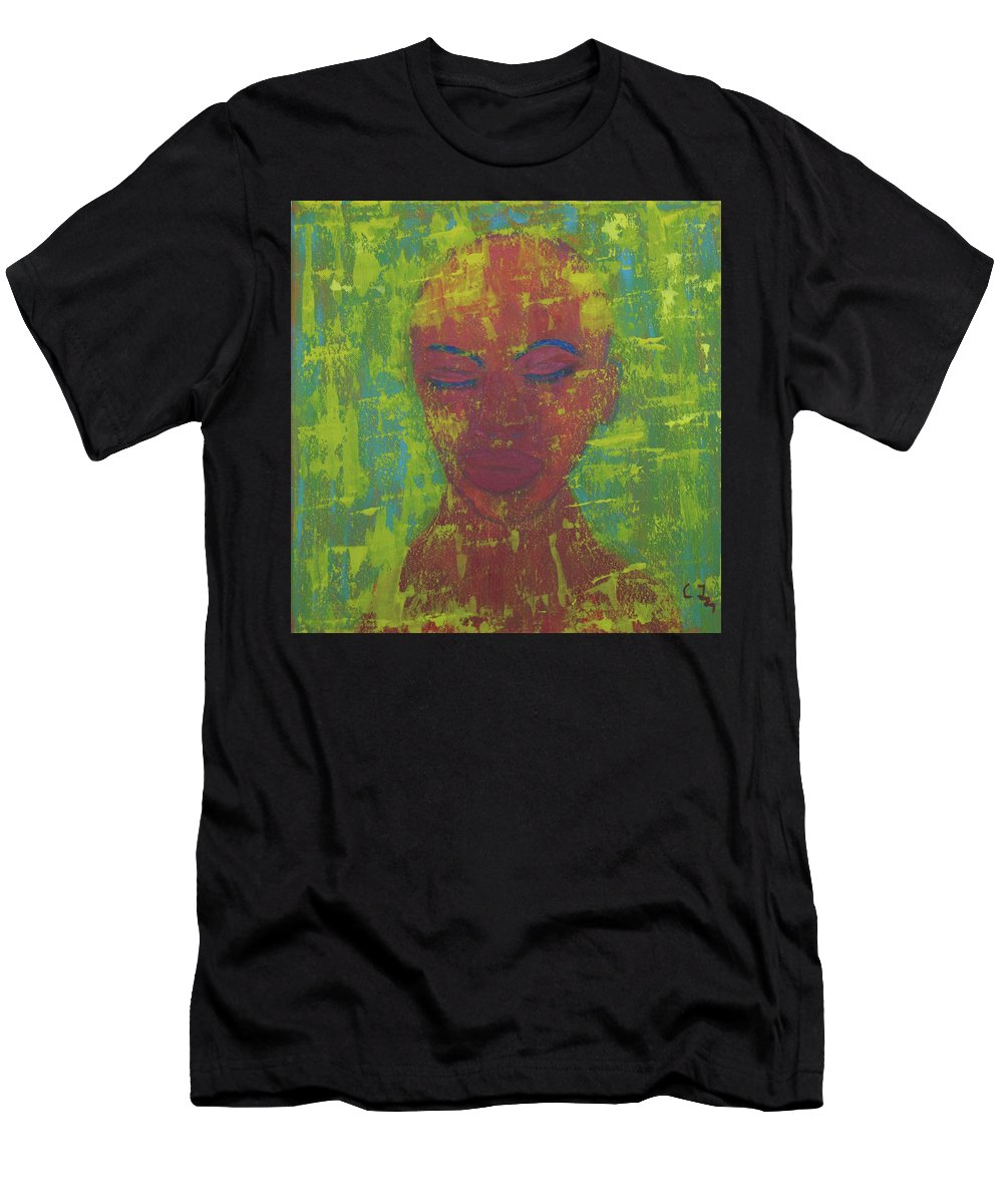 Portrait Abstract Men's T-Shirt (Athletic Fit) featuring the painting Night by Crina Iancau
