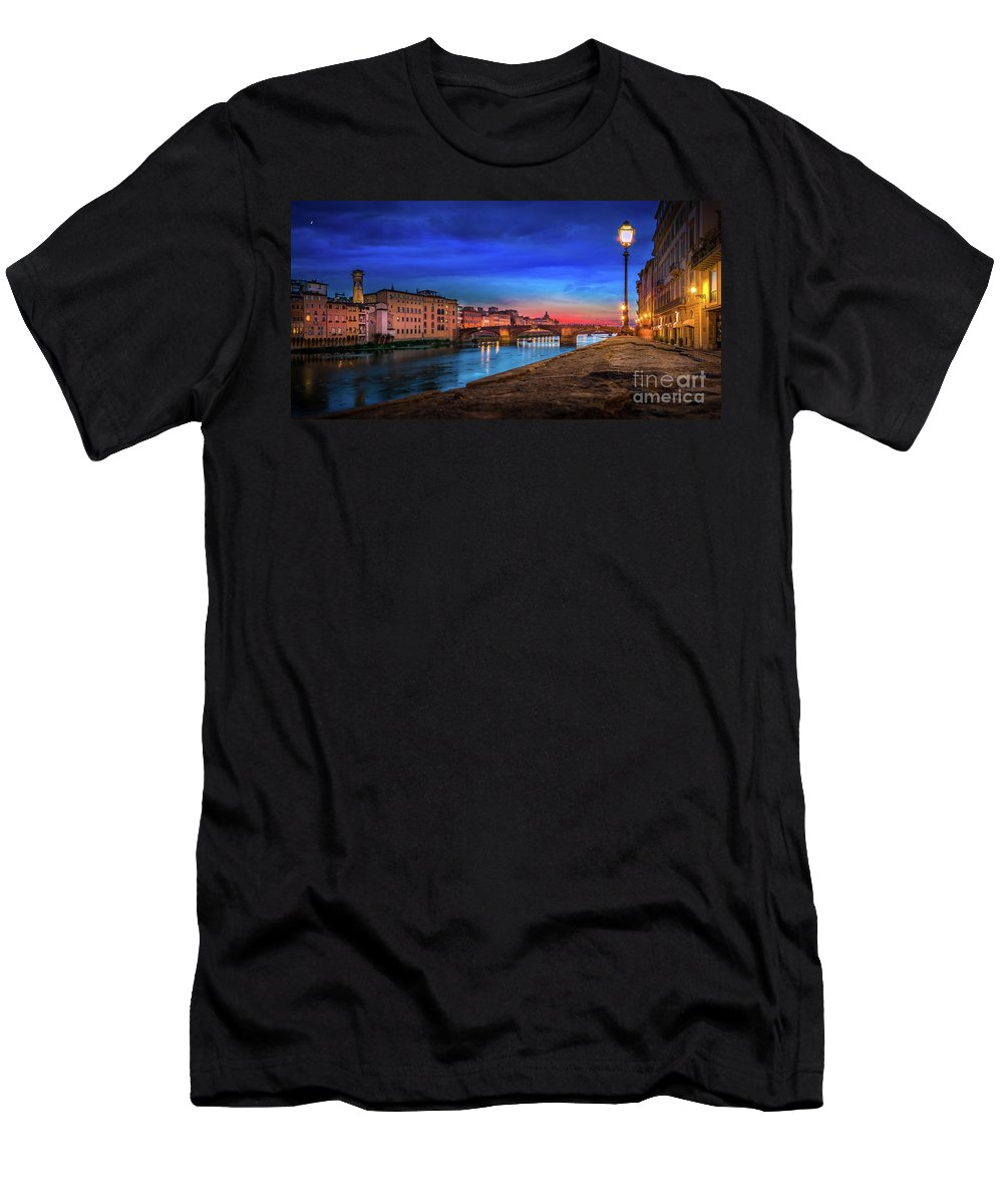 Tuscany Men's T-Shirt (Athletic Fit) featuring the photograph Night In Florence Italy by Evgeni Nedelchev