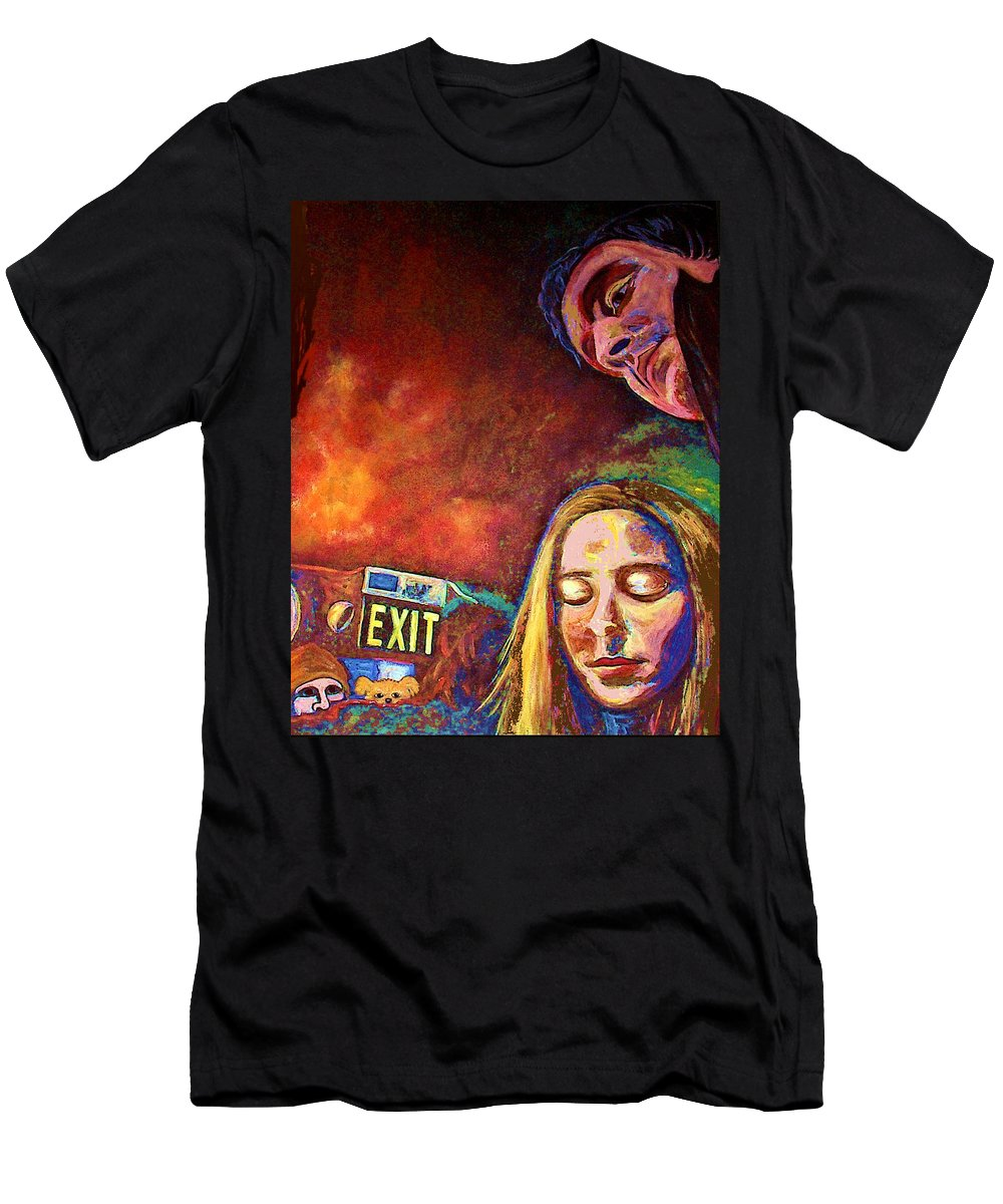 Girl Portrait Men's T-Shirt (Athletic Fit) featuring the painting Night In The City by Frances Gillotti