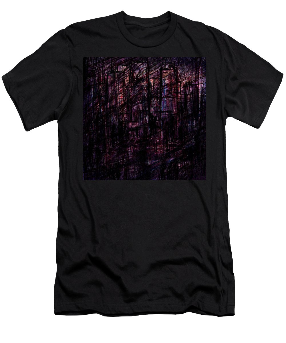 Abstract Men's T-Shirt (Athletic Fit) featuring the digital art Night Lovers by Rachel Christine Nowicki