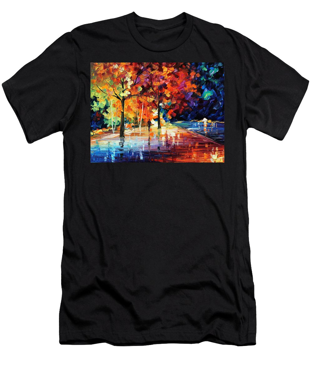 Afremov Men's T-Shirt (Athletic Fit) featuring the painting Night New Original by Leonid Afremov