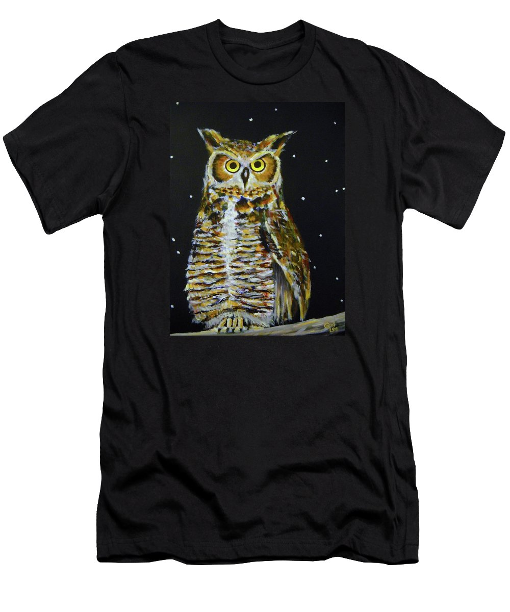 Owl Men's T-Shirt (Athletic Fit) featuring the painting Night Owl by Cami Lee