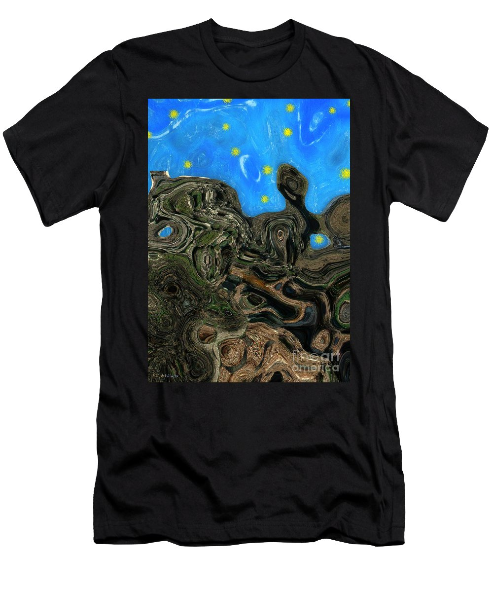 Abstract Men's T-Shirt (Athletic Fit) featuring the painting Night Petrified by RC DeWinter