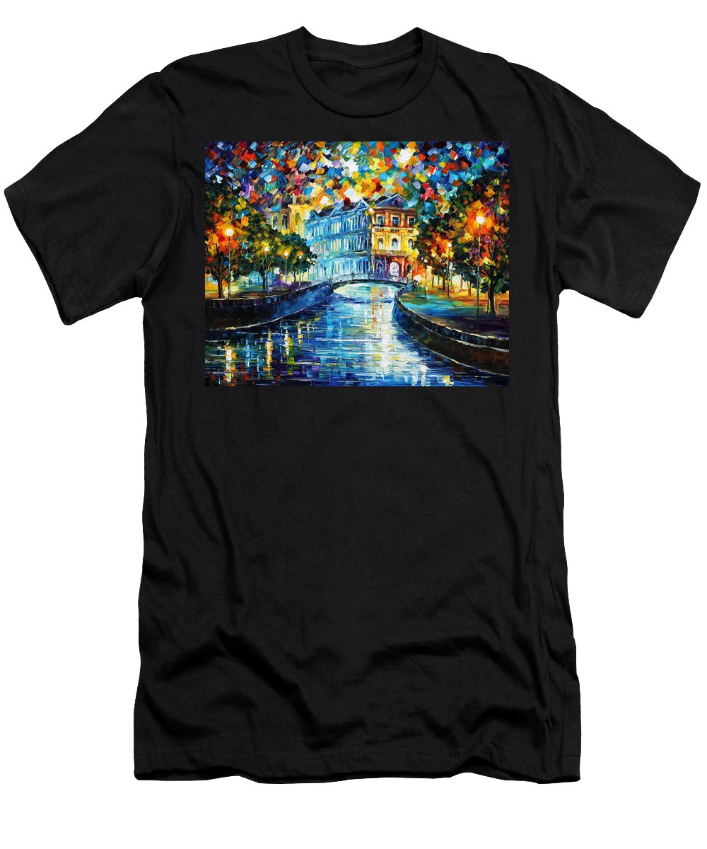 Afremov Men's T-Shirt (Athletic Fit) featuring the painting Night River by Leonid Afremov
