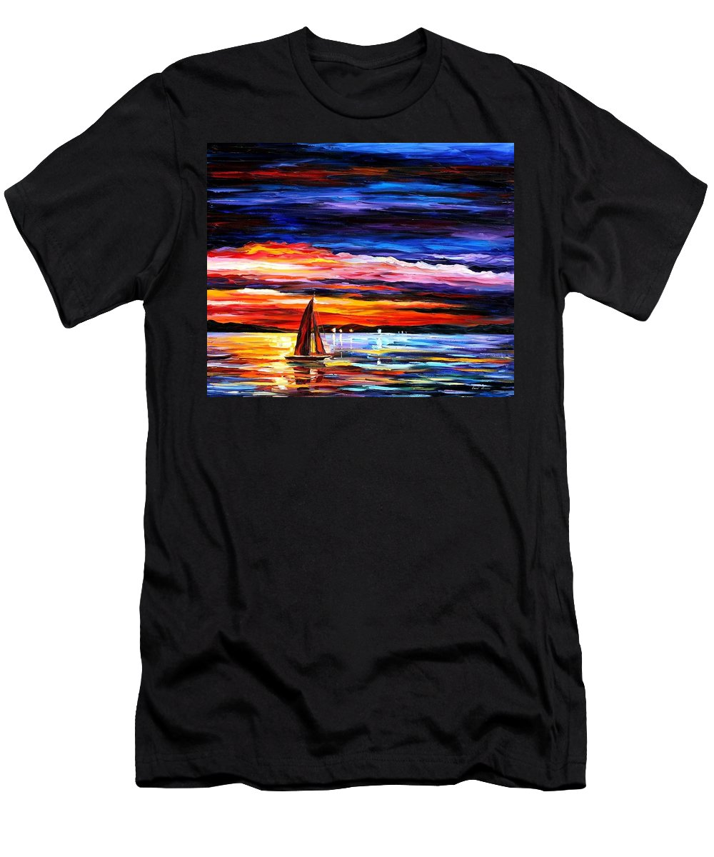 Seascape Men's T-Shirt (Athletic Fit) featuring the painting Night Sea by Leonid Afremov