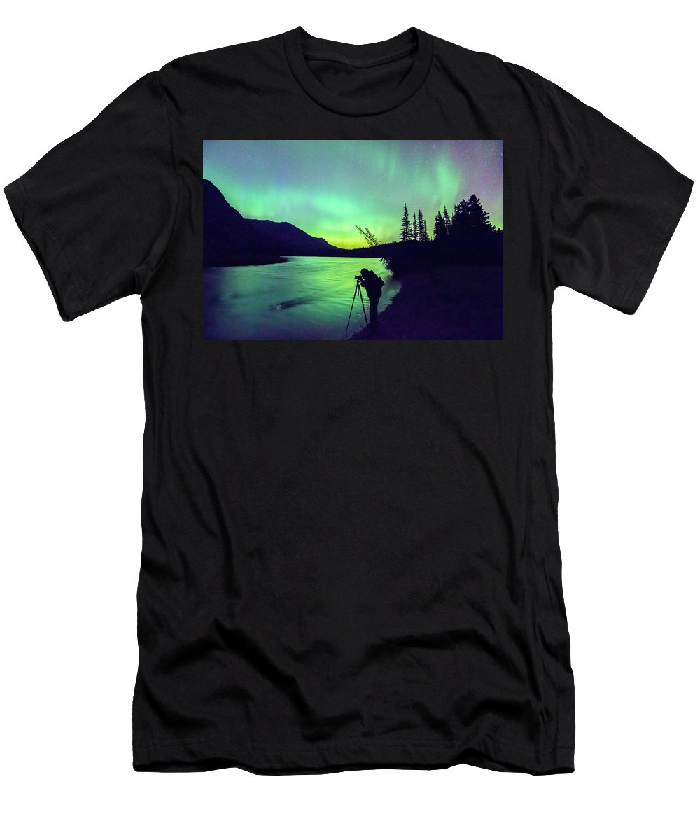 Glacier National Park Men's T-Shirt (Athletic Fit) featuring the photograph Night Sky Photographer by Blake Passmore