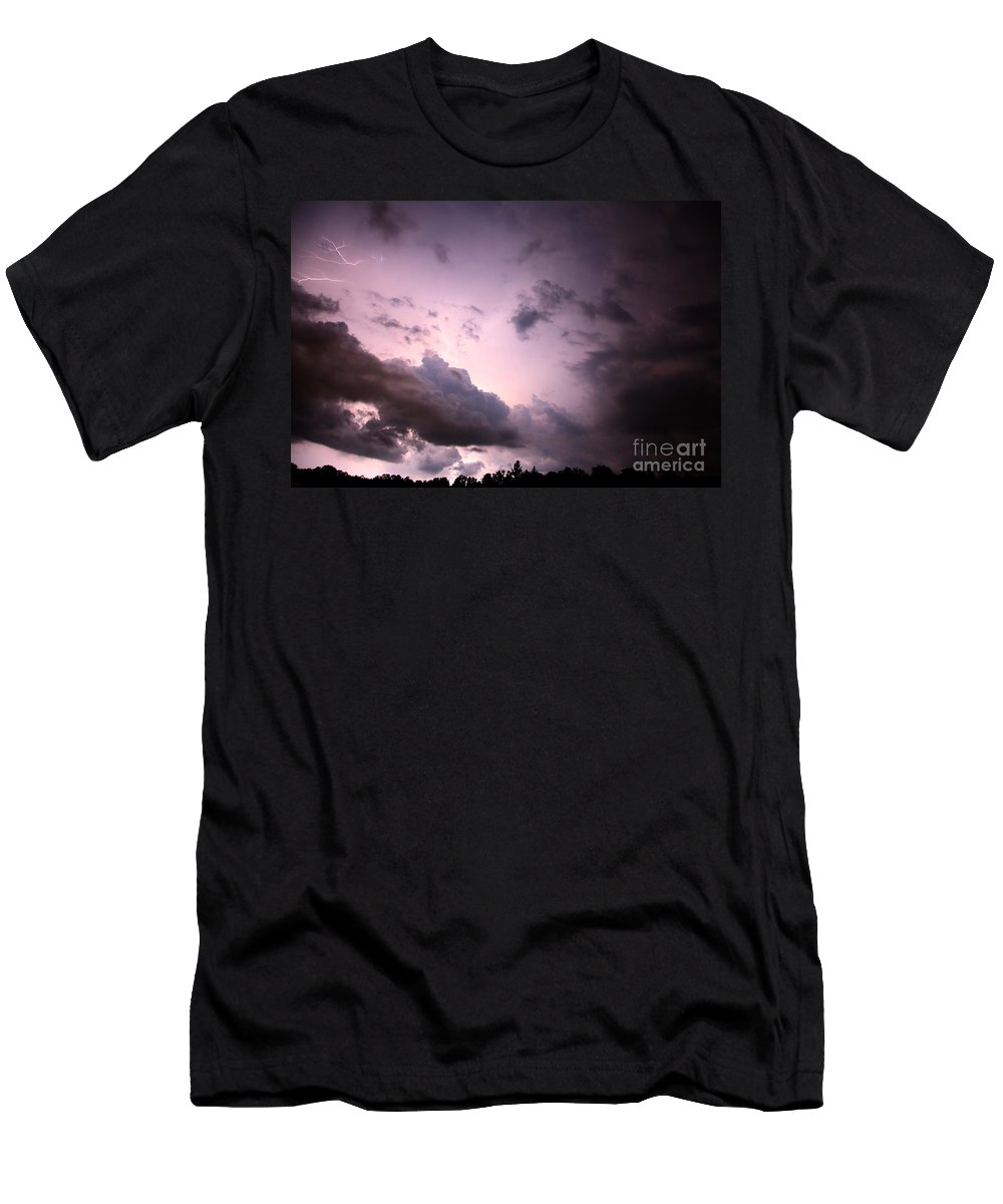 Lightning Men's T-Shirt (Athletic Fit) featuring the photograph Night Storm by Amanda Barcon