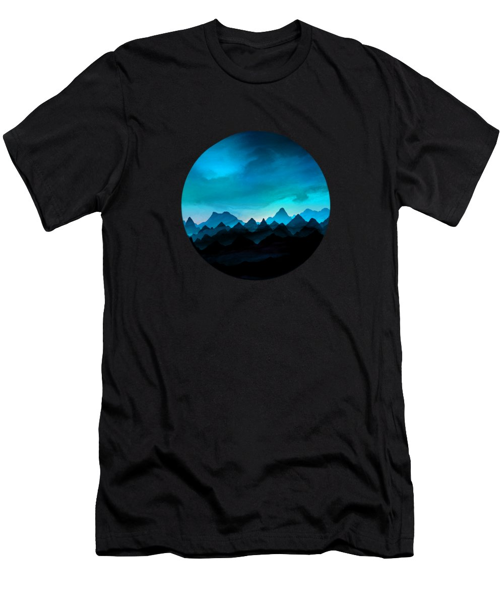 Painting T-Shirt featuring the painting Night Storm In The Mountains by Little Bunny Sunshine