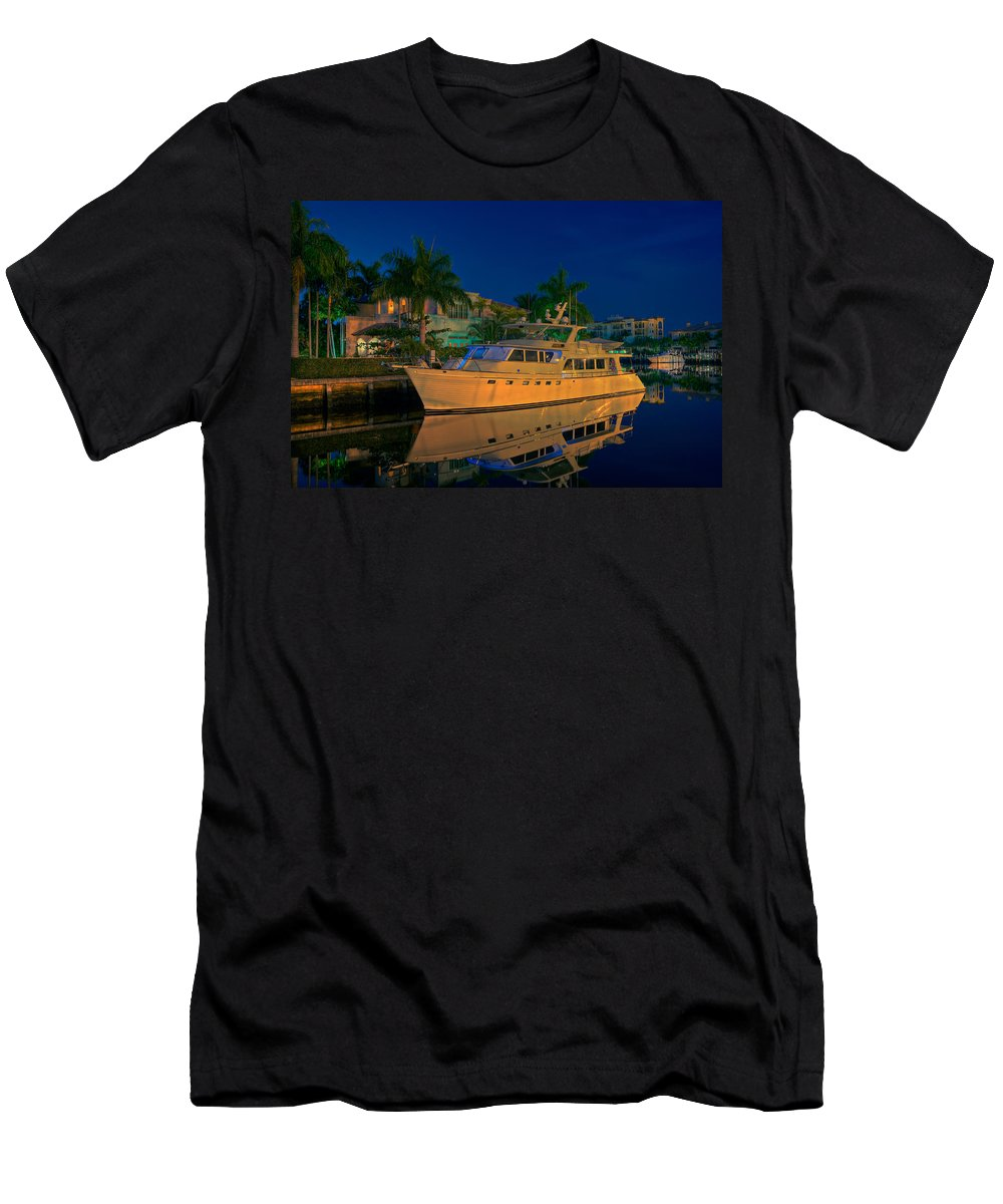 Fort Lauderdale Men's T-Shirt (Athletic Fit) featuring the photograph Night Time In Fort Lauderdale by James O Thompson