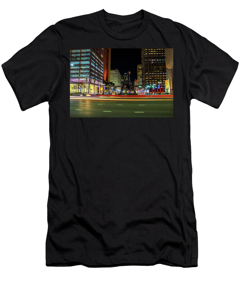 Night Men's T-Shirt (Athletic Fit) featuring the photograph Night Time In The D by Troy Priebe