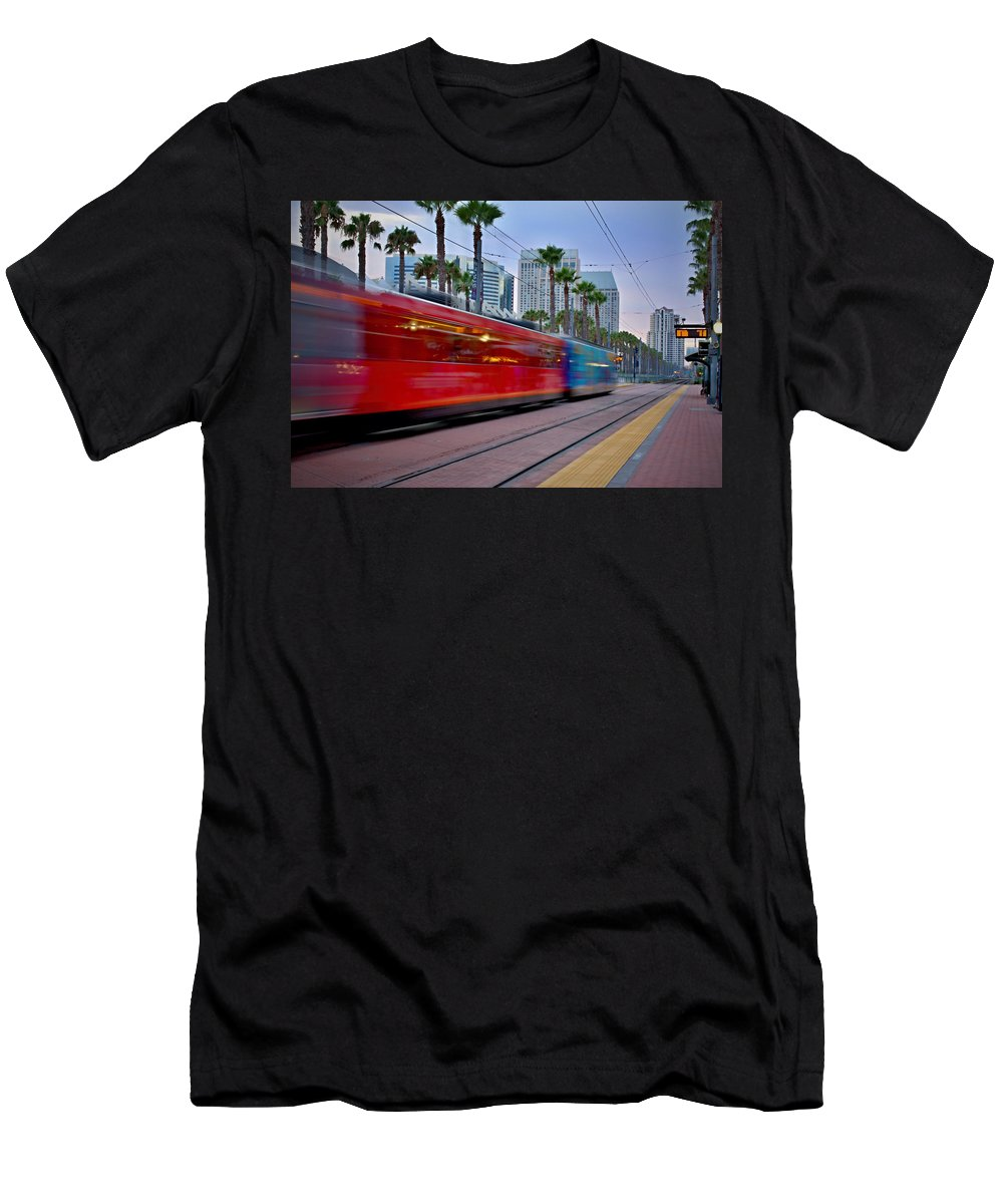 San Diego Trolley Men's T-Shirt (Athletic Fit) featuring the photograph Night Train by See My Photos