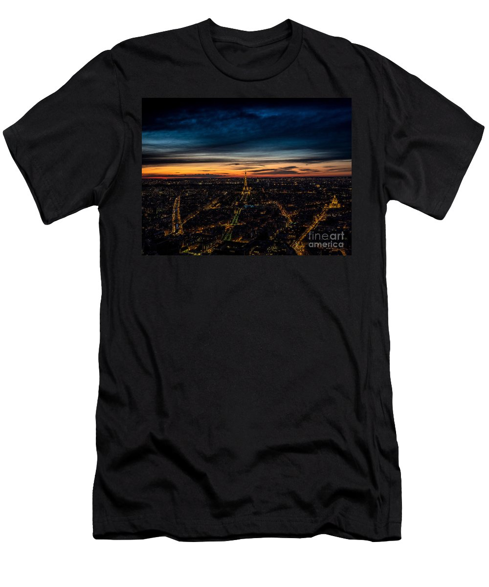 Dusk Men's T-Shirt (Athletic Fit) featuring the photograph Night View Over Paris With Eiffel Tower by Bailey Cooper Photography
