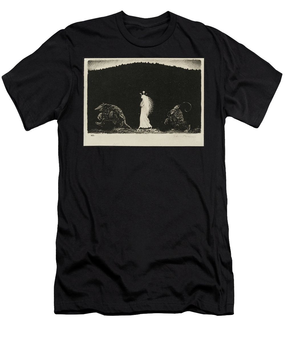 John Bauer Men's T-Shirt (Athletic Fit) featuring the painting Night Walk by MotionAge Designs